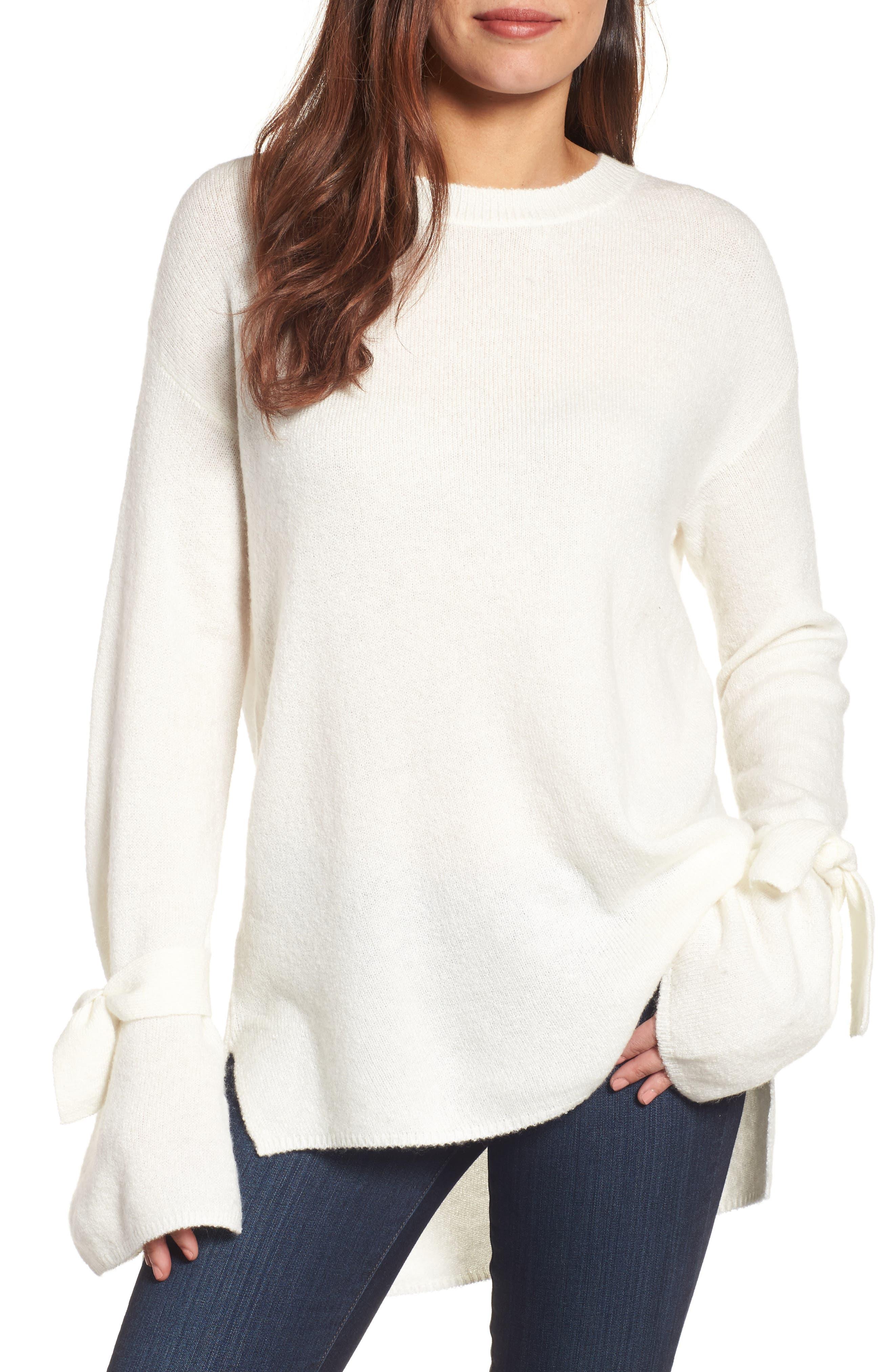 Alternate Image 1 Selected - Halogen® Tie Bell Sleeve Sweater (Regular & Petite)