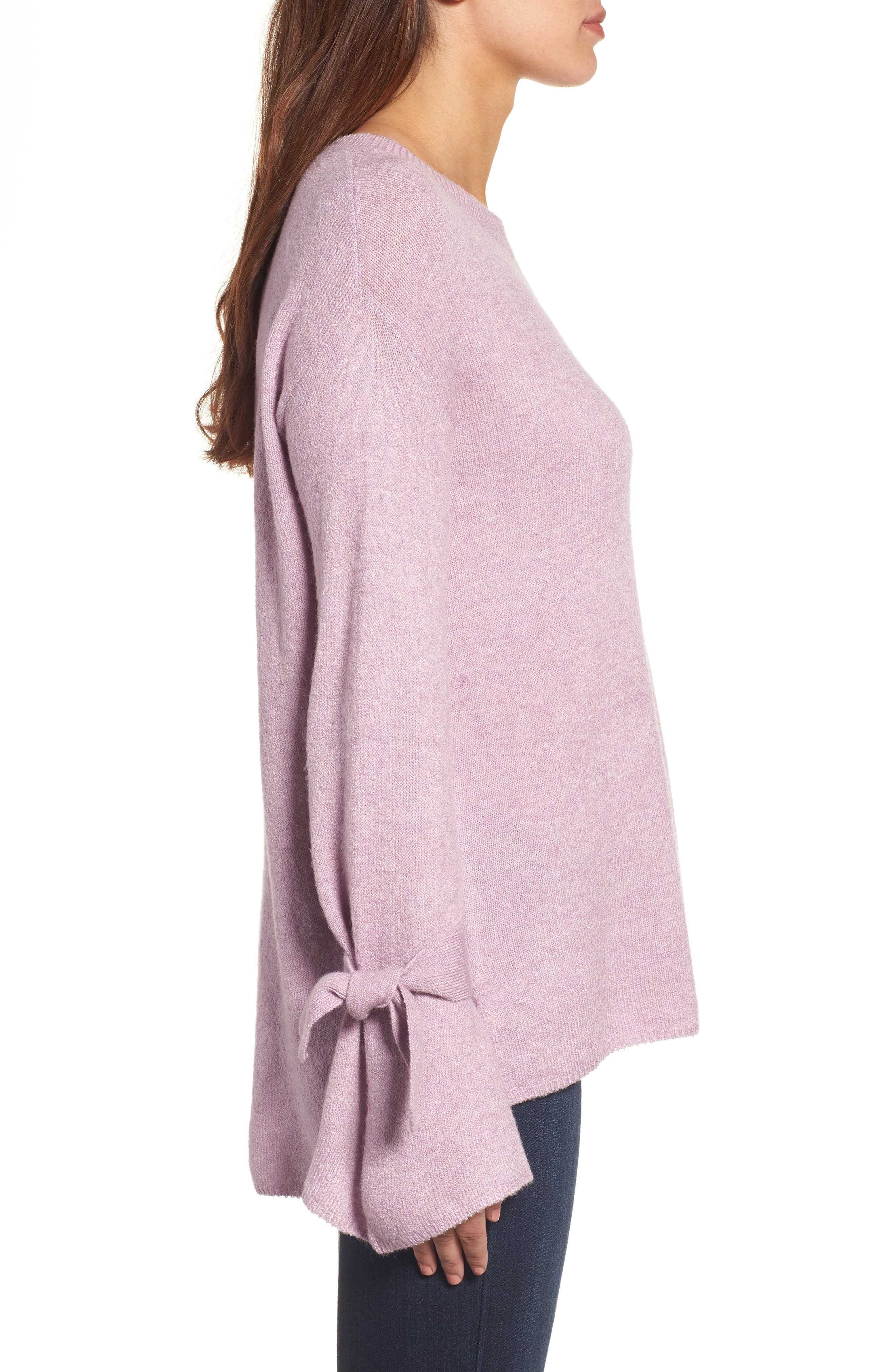 Tie Bell Sleeve Sweater,                             Alternate thumbnail 3, color,                             Purple Mist