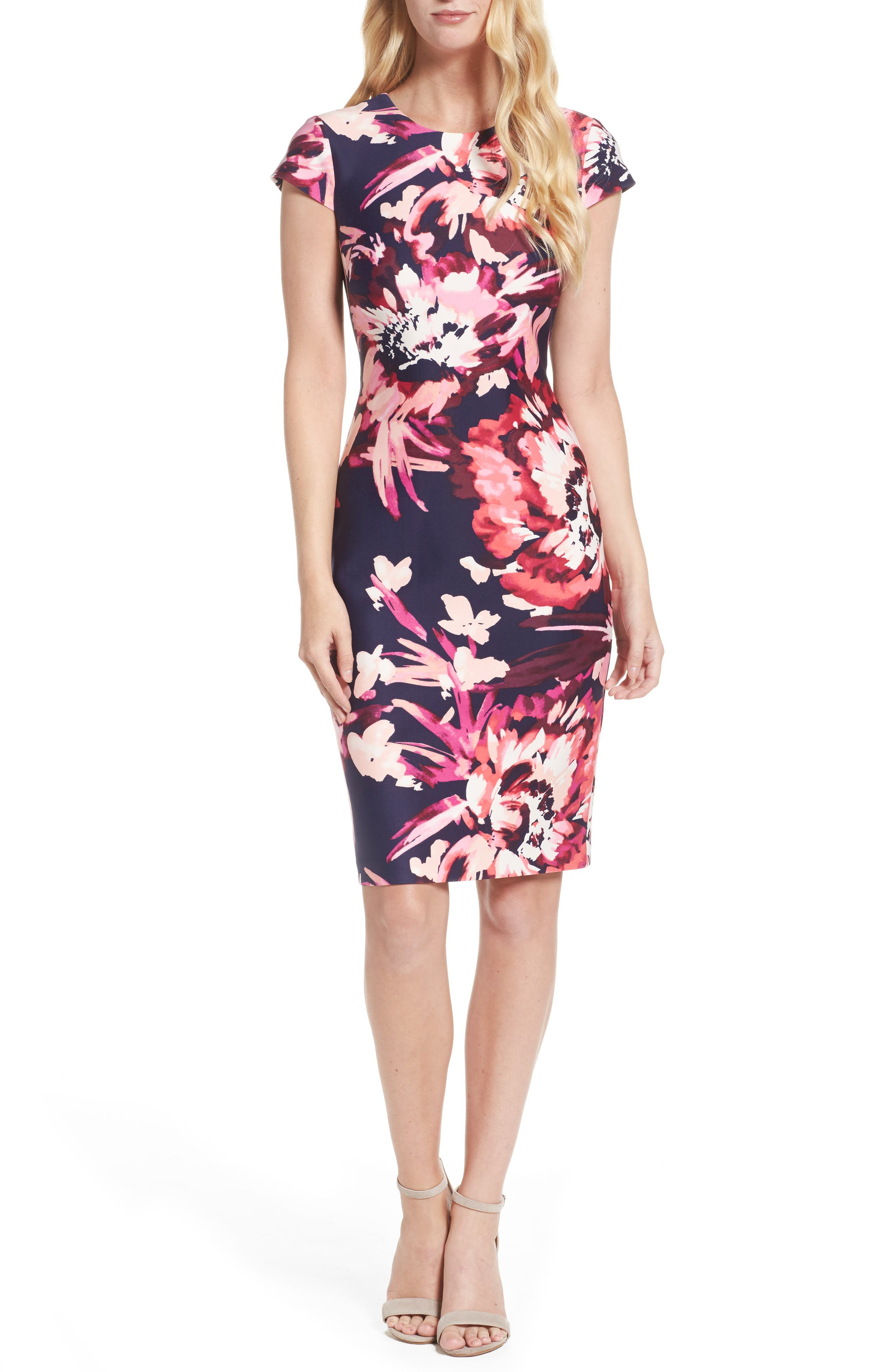 Cap Sleeve Sheath Dress,                             Main thumbnail 1, color,                             Pink Multi