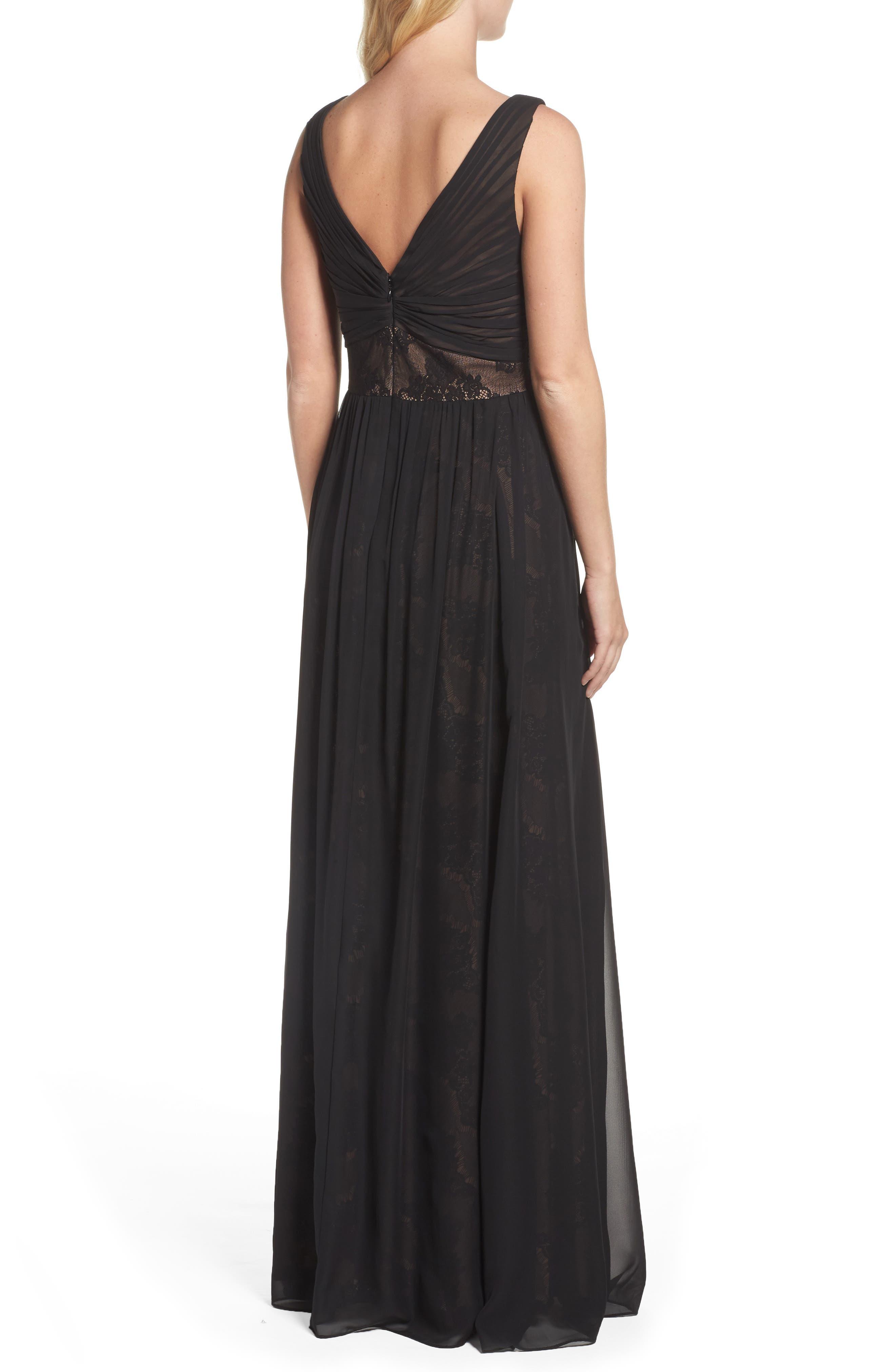 Lace Detail Gown,                             Alternate thumbnail 2, color,                             Black Nude