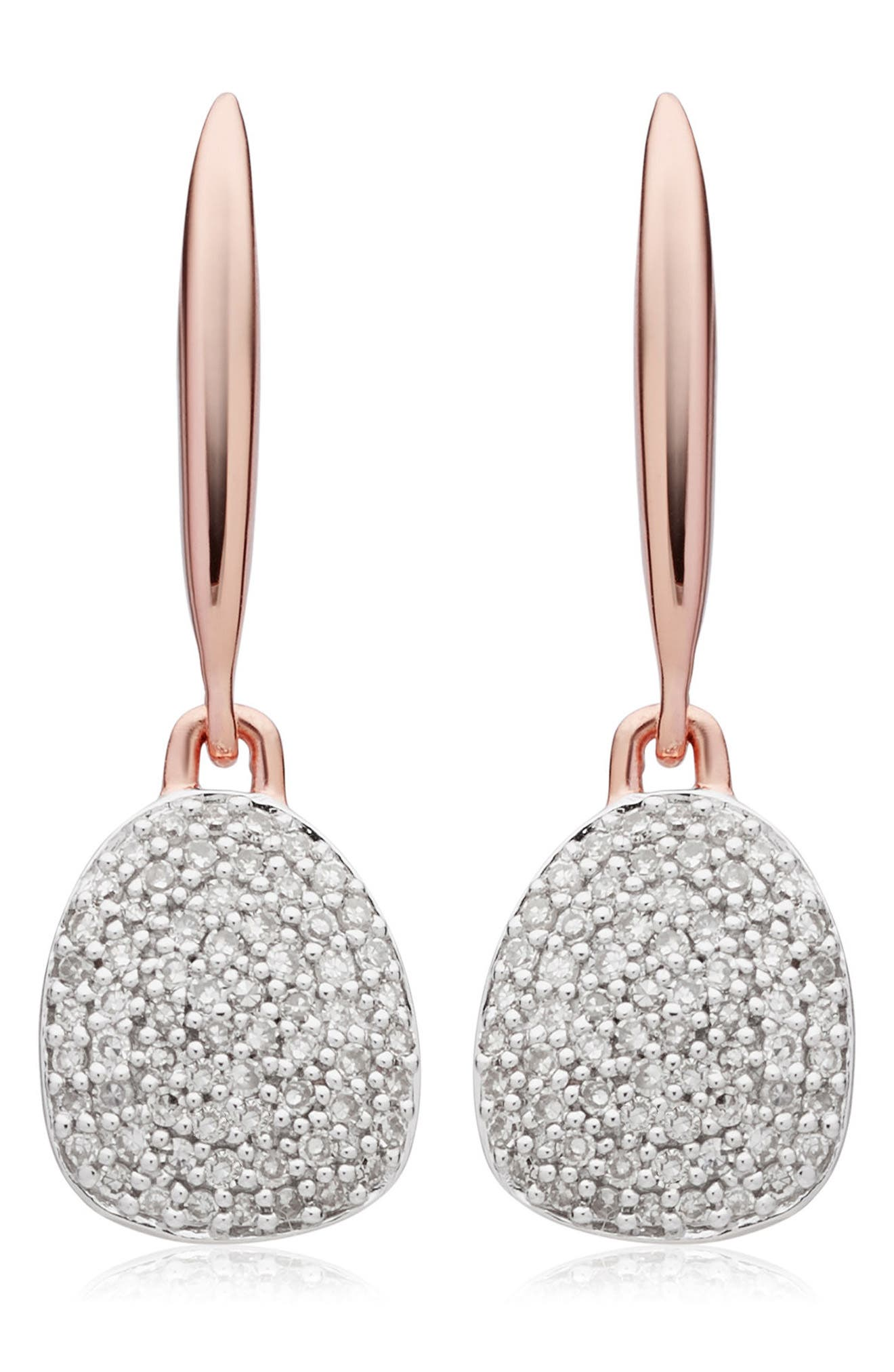 Nura Small Diamond Pebble Drop Earrings,                             Main thumbnail 1, color,                             Rose Gold