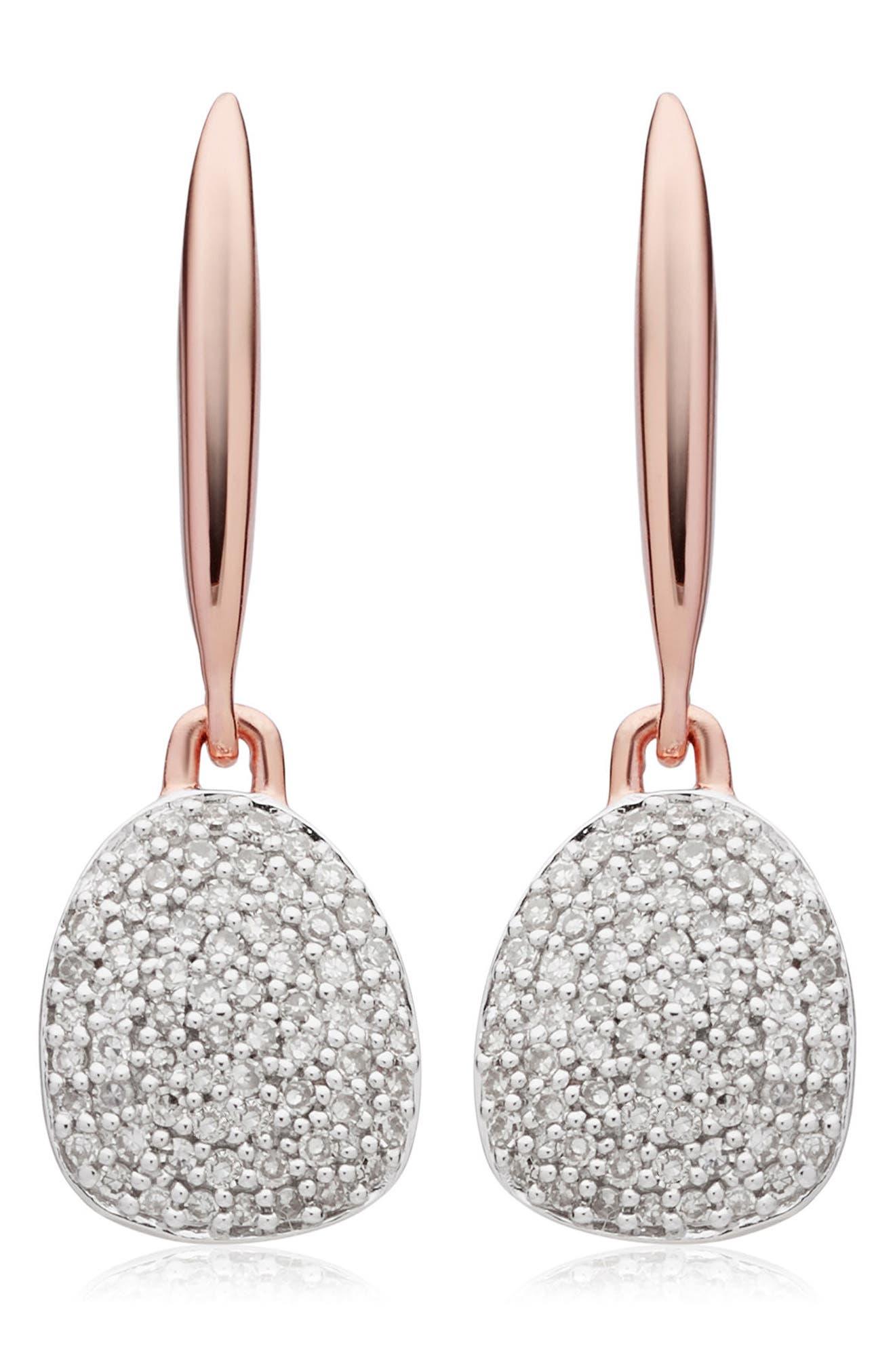 Monica Vinader Nura Small Diamond Pebble Drop Earrings