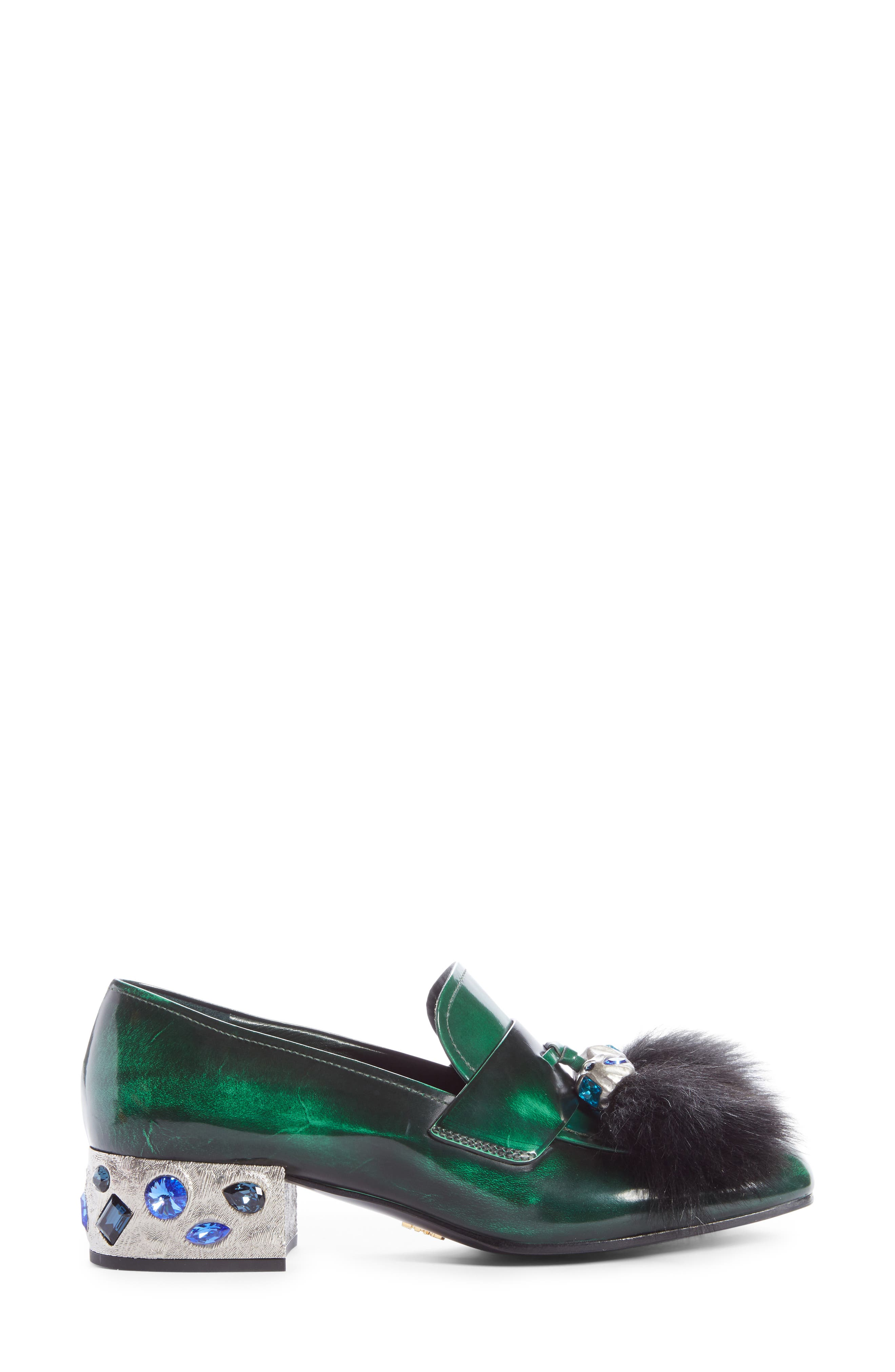 Alternate Image 4  - Prada Genuine Shearling Tassel Loafer (Women)