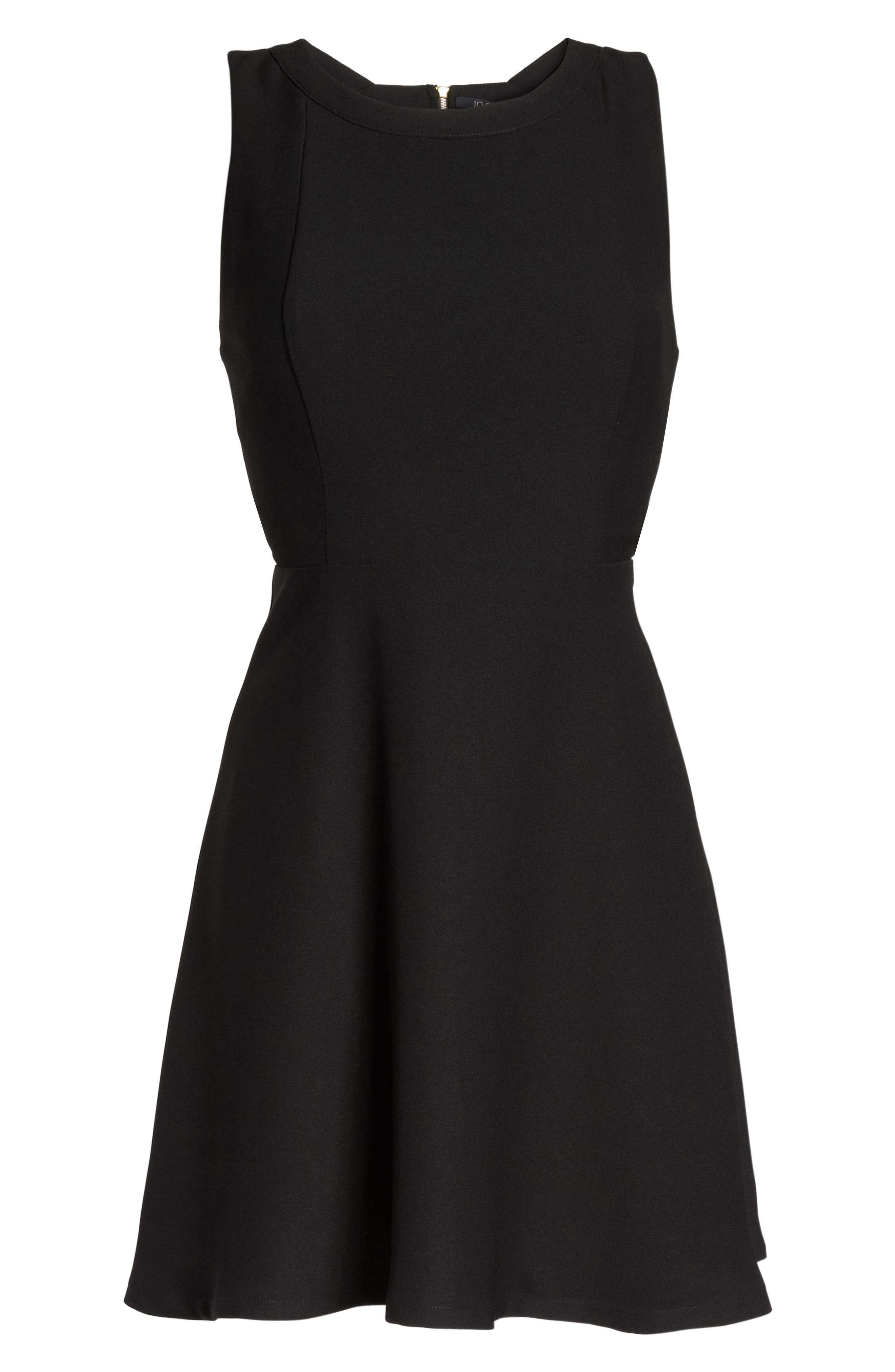 Crepe Fit & Flare Dress,                             Alternate thumbnail 6, color,                             Black