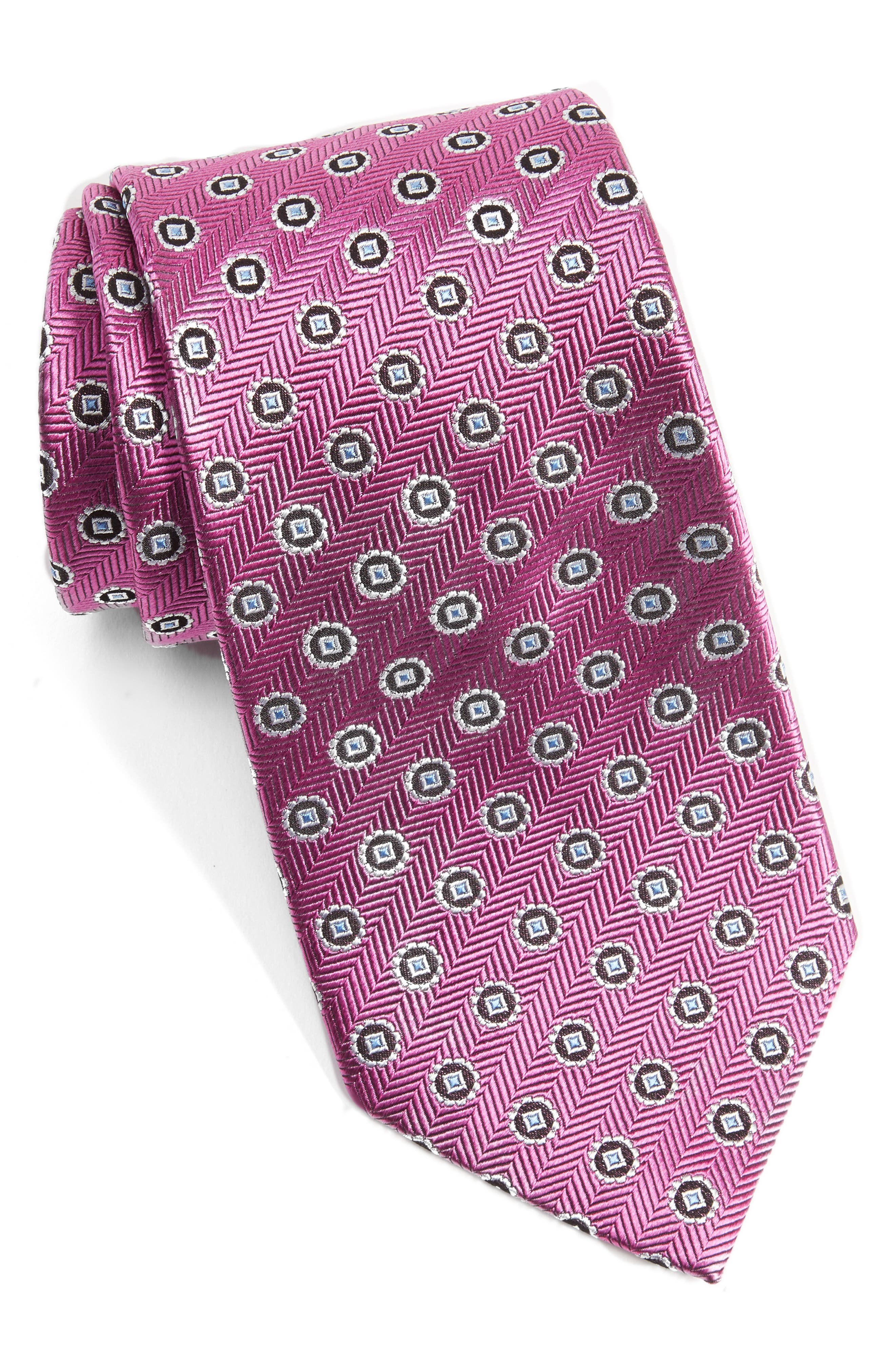 Neat Silk Tie,                             Main thumbnail 1, color,                             Dark Pink