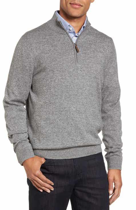 Nordstrom Men s Shop Half Zip Cotton   Cashmere Pullover (Regular   Tall) d70dc85be190