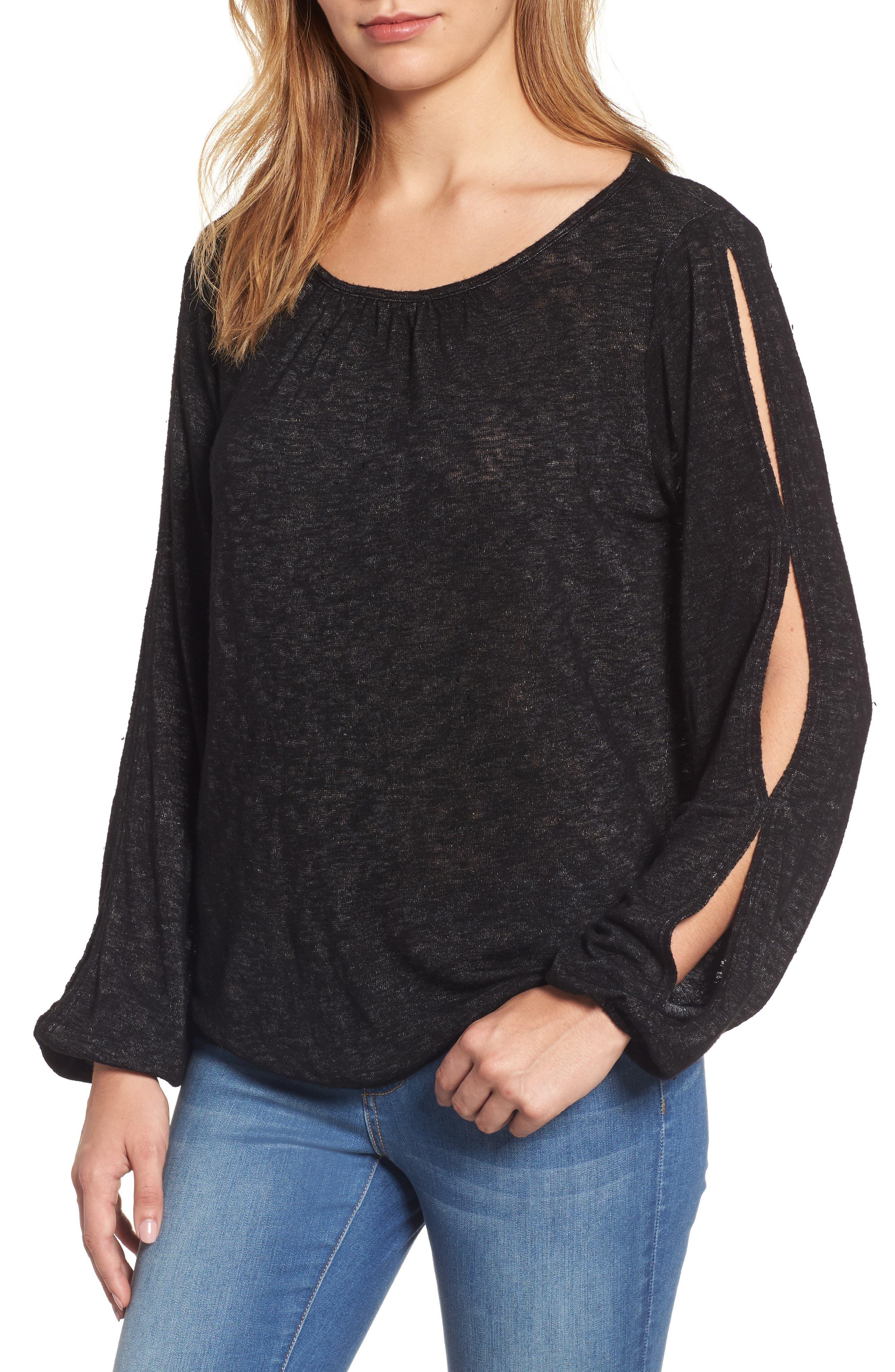 Slit Sleeve Knit Top,                         Main,                         color, Black