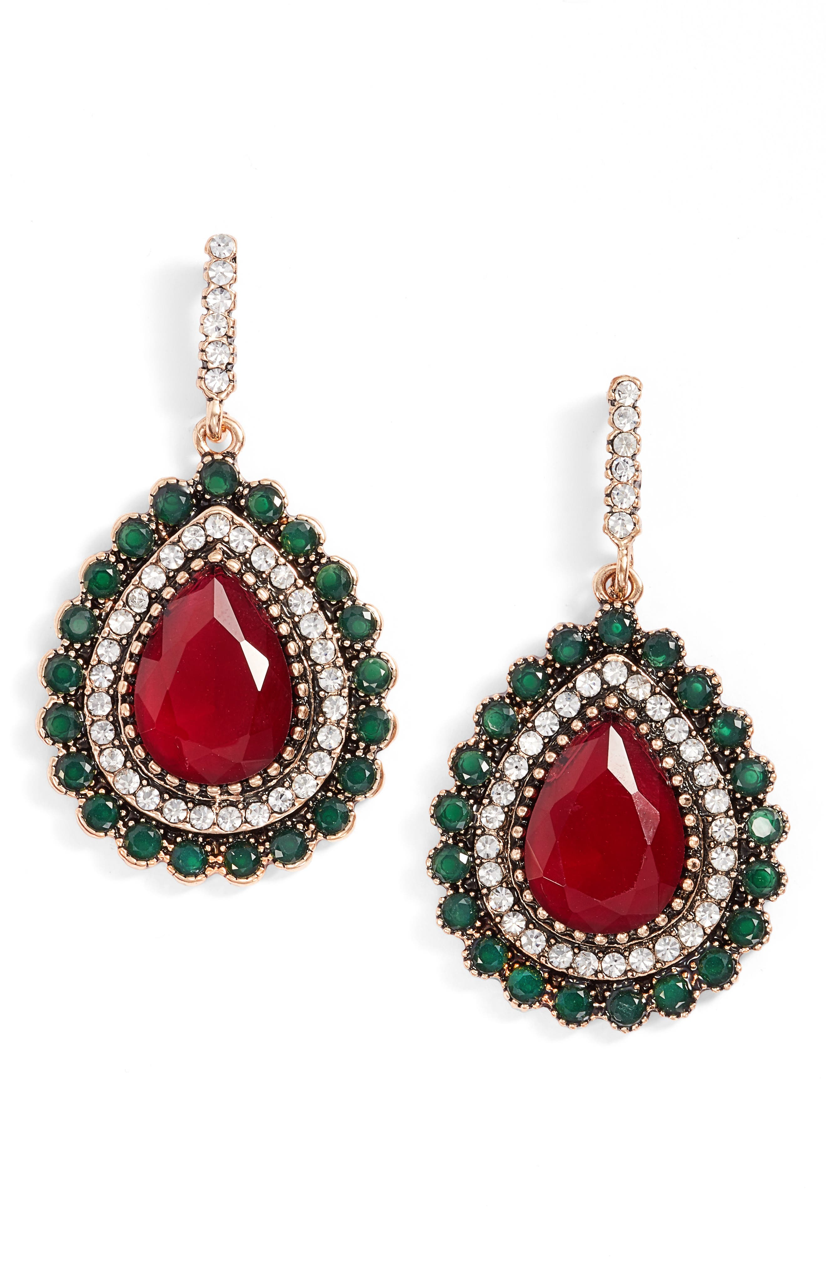 Lily Teardrop Earrings,                             Main thumbnail 1, color,                             Red / Gold