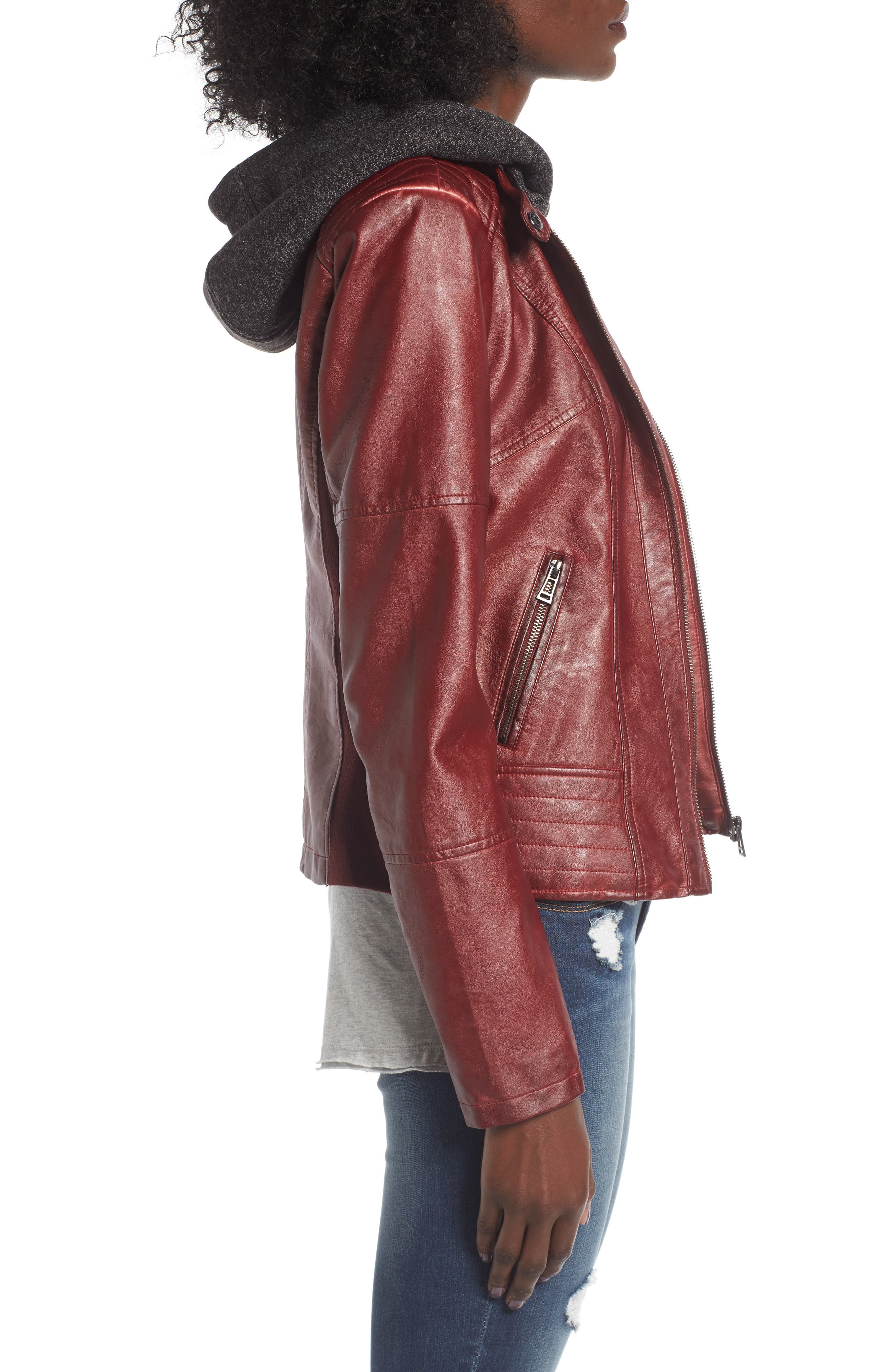 Alternate Image 3  - SEBBY Faux Leather Jacket with Detachable Jersey Hood