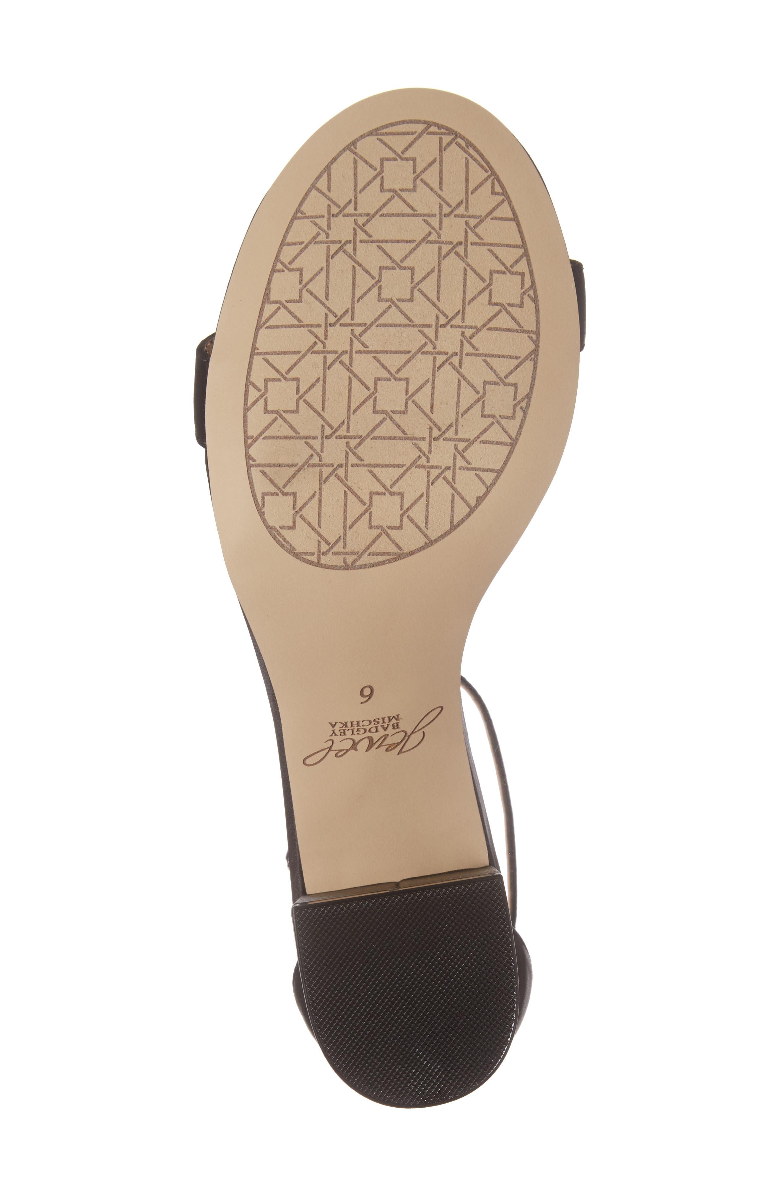 Lindsey Embellished T-Strap Sandal,                             Alternate thumbnail 4, color,                             Black Satin