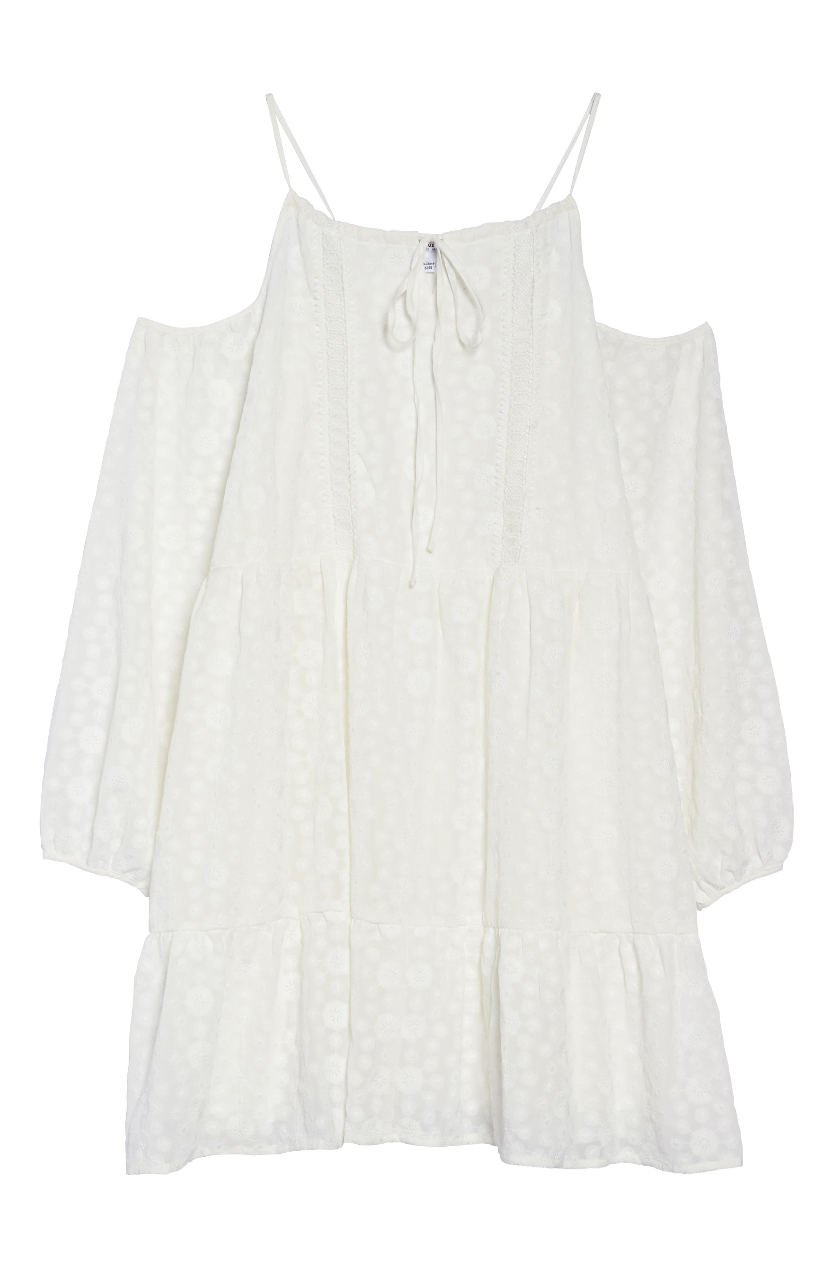 Off the Shoulder Embroidered Trapeze Dress,                             Alternate thumbnail 6, color,                             White