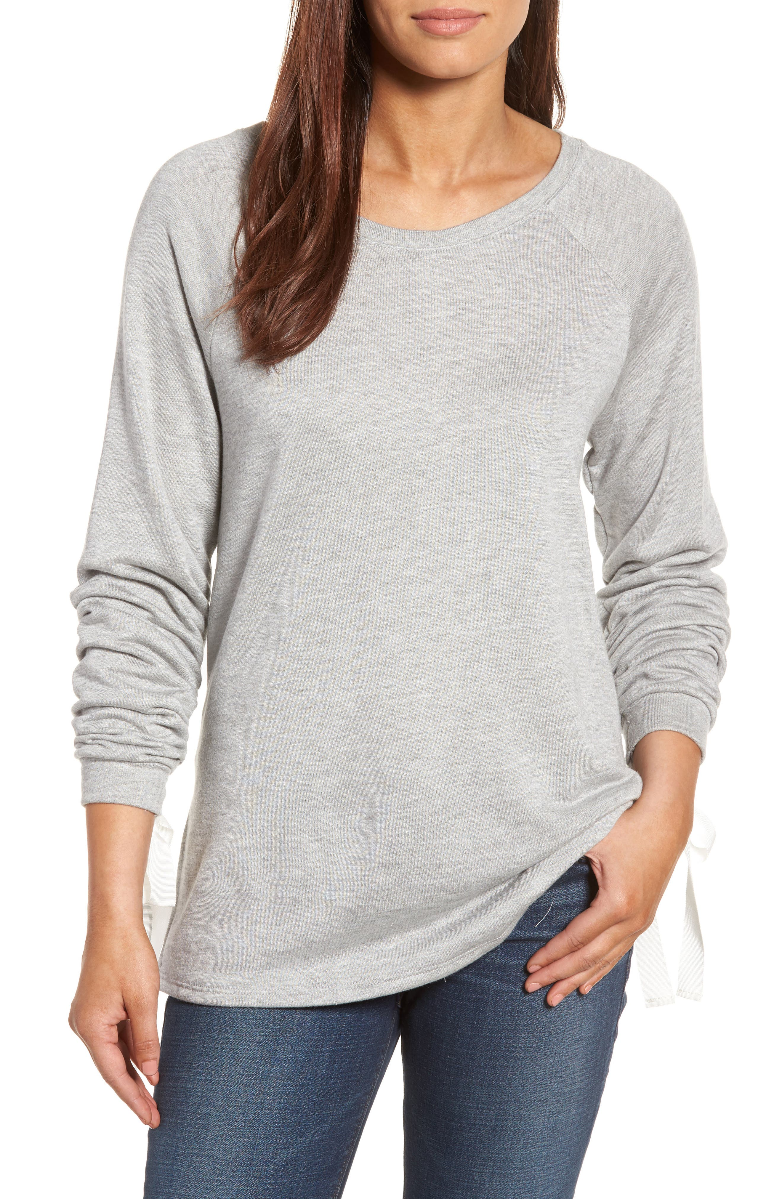 Caslon® Tie Ruched Sleeve Sweatshirt (Regular & Petite)
