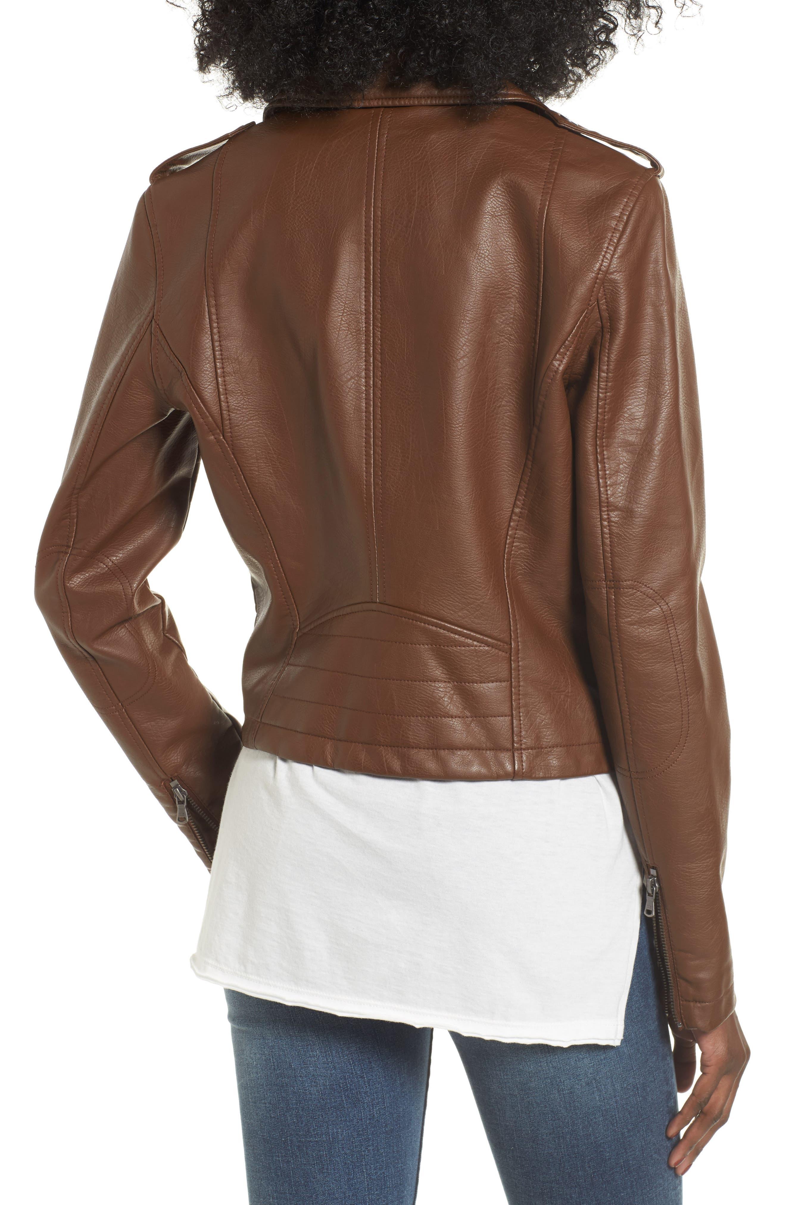 Faux Leather Moto Jacket,                             Alternate thumbnail 2, color,                             Cognac