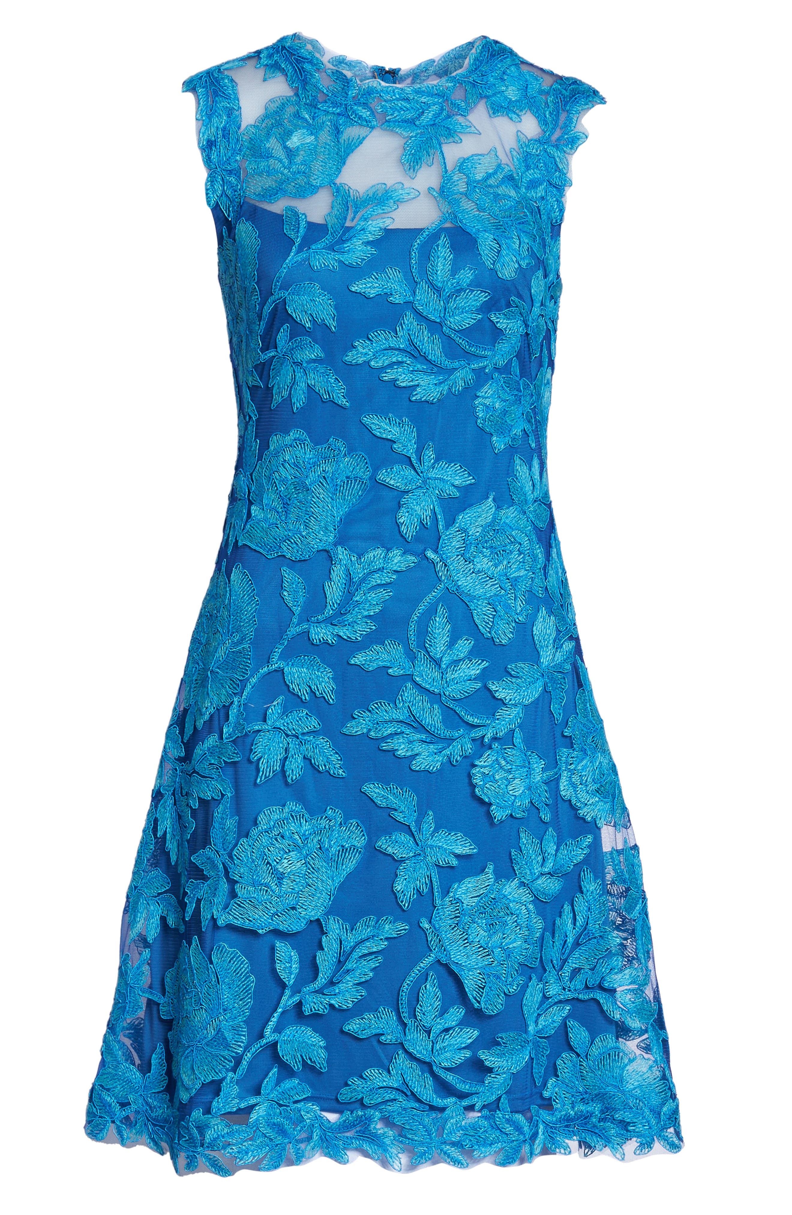 Noelle Floral Fit & Flare Dress,                             Alternate thumbnail 6, color,                             Blue Topaz