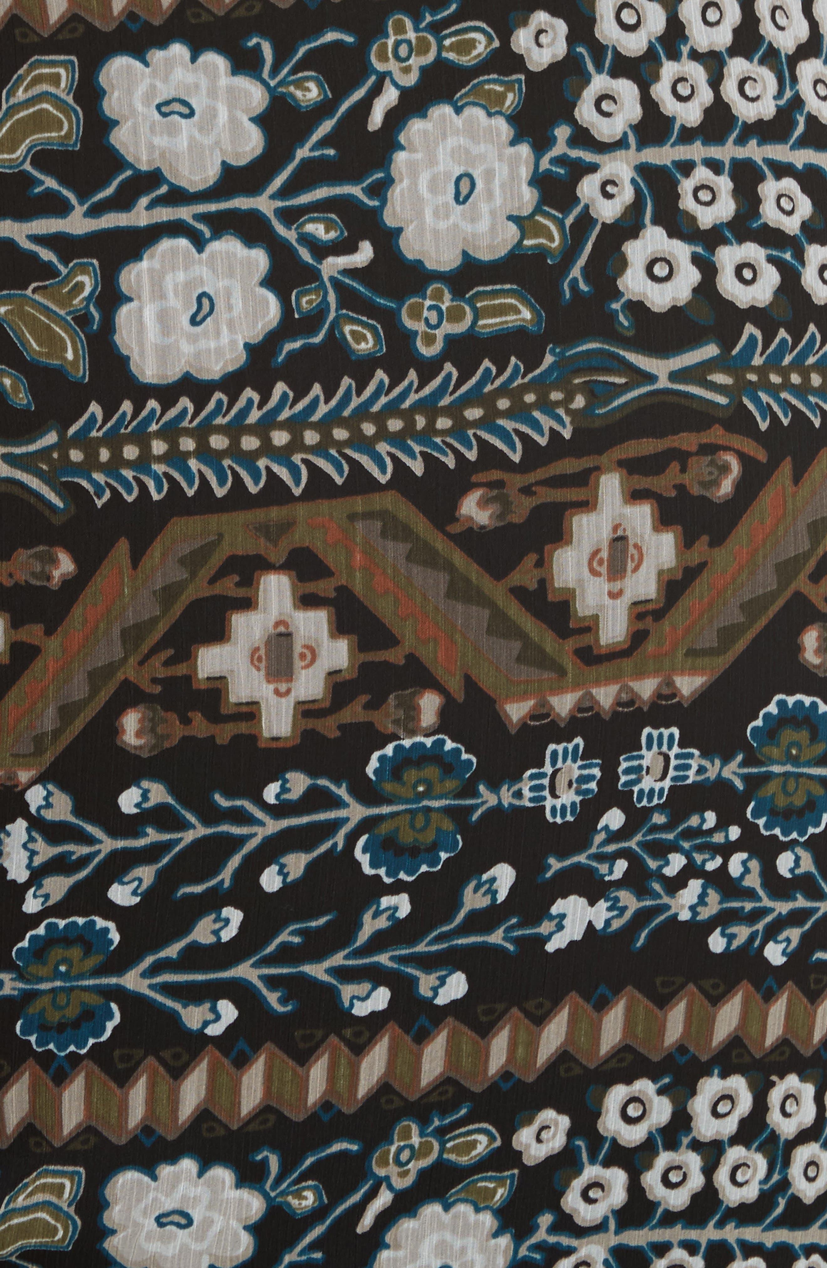 Perla Ruched Midi Dress,                             Alternate thumbnail 5, color,                             Army/ Black Multi
