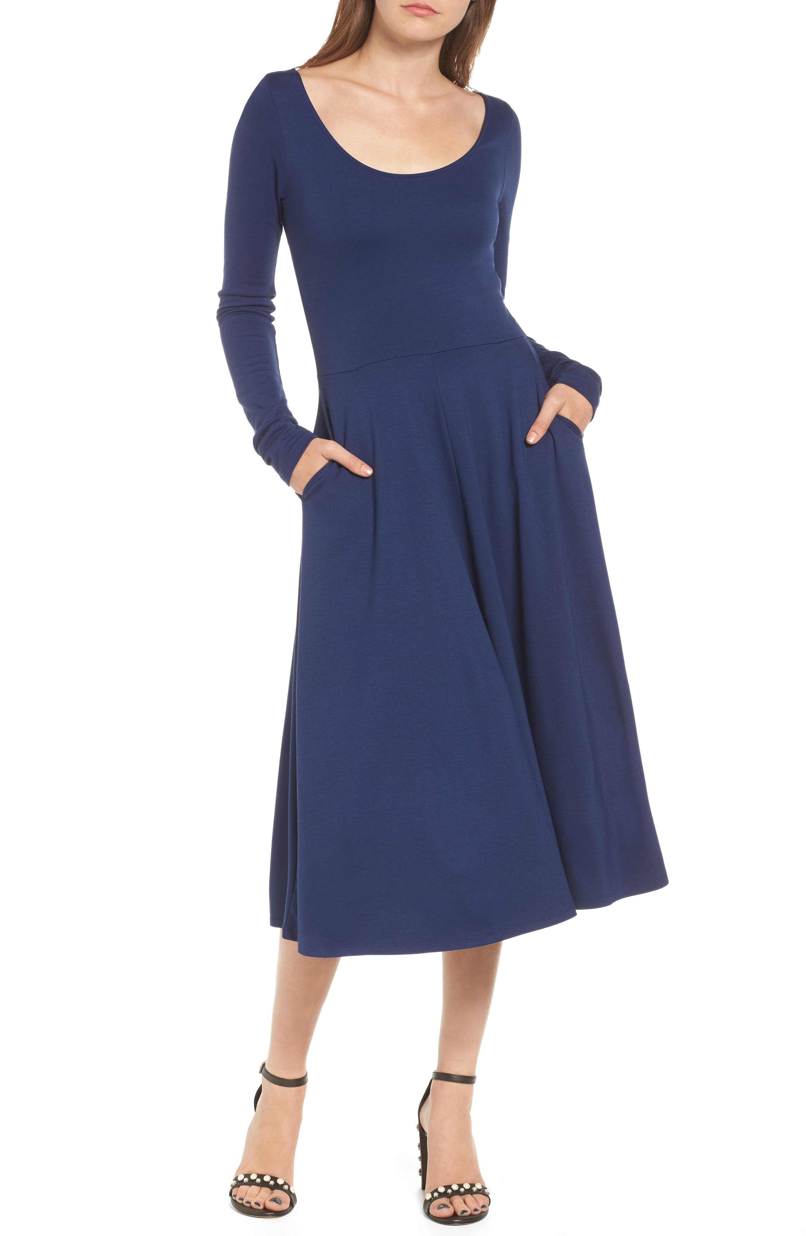 Long Sleeve Midi Dress,                         Main,                         color, Navy Medieval
