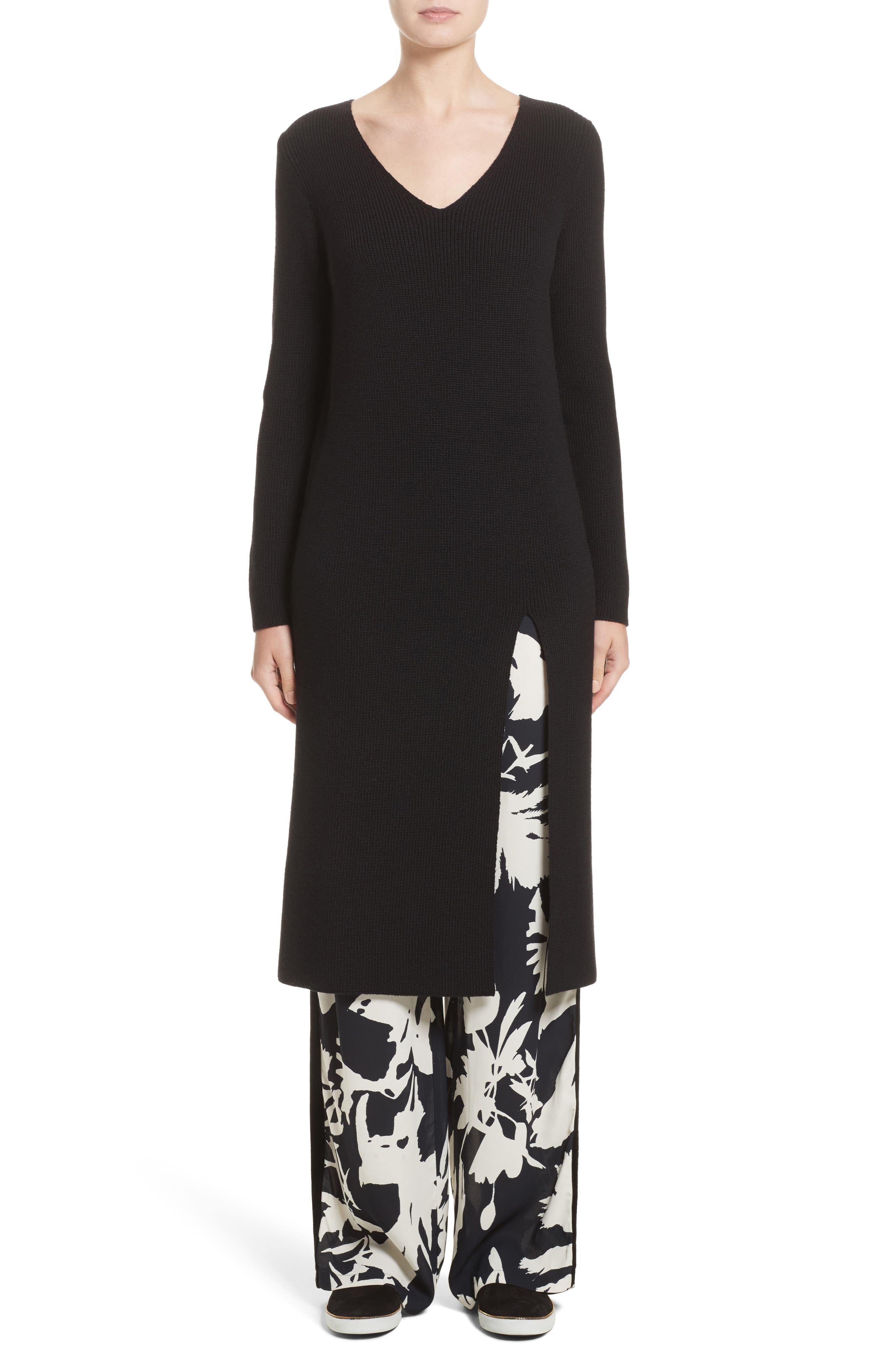 Virgin Wool Front Slit Tunic,                         Main,                         color, Black