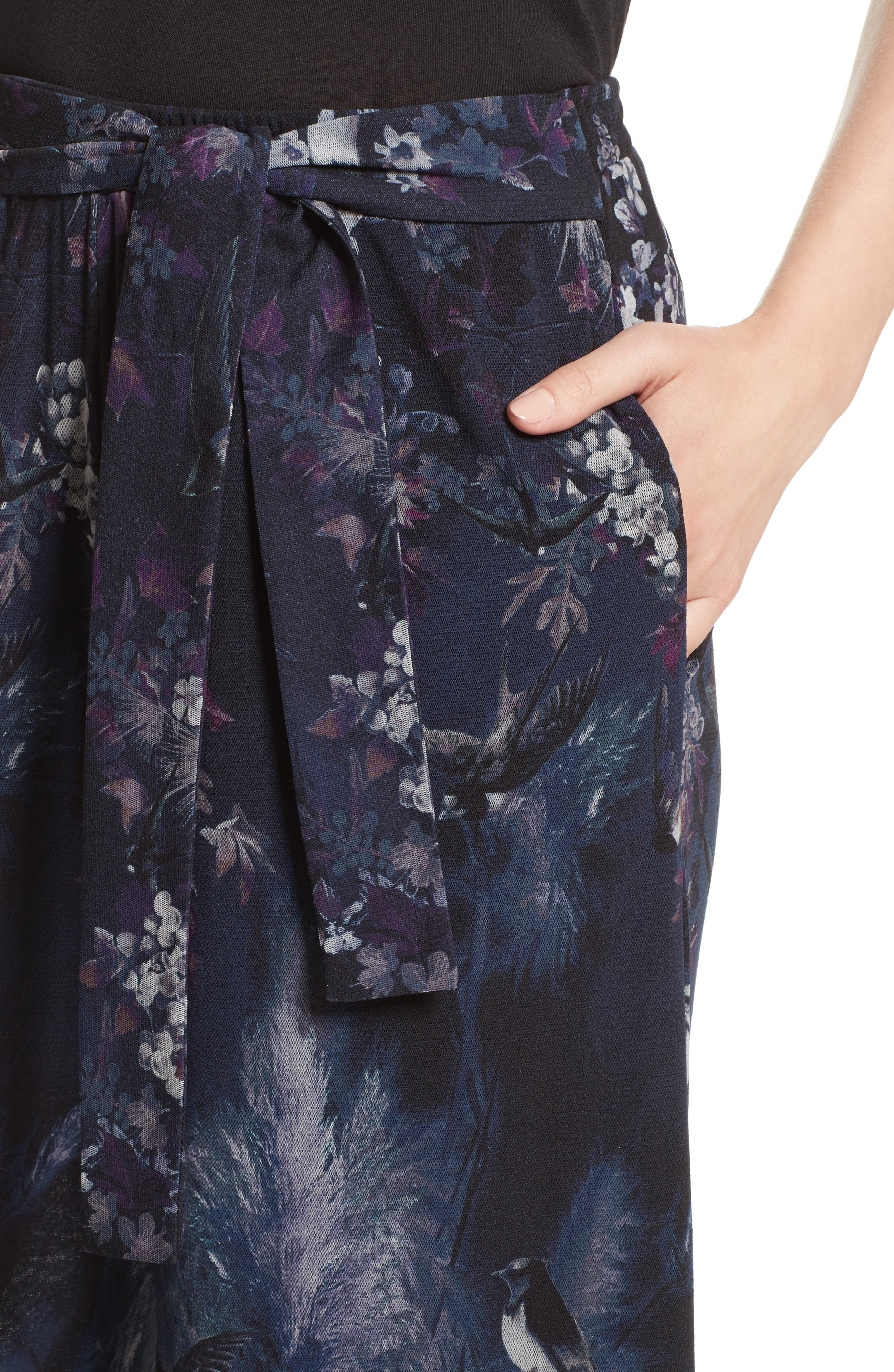 Alternate Image 6  - Fuzzi Floral Print Tulle Belted Karate Pants