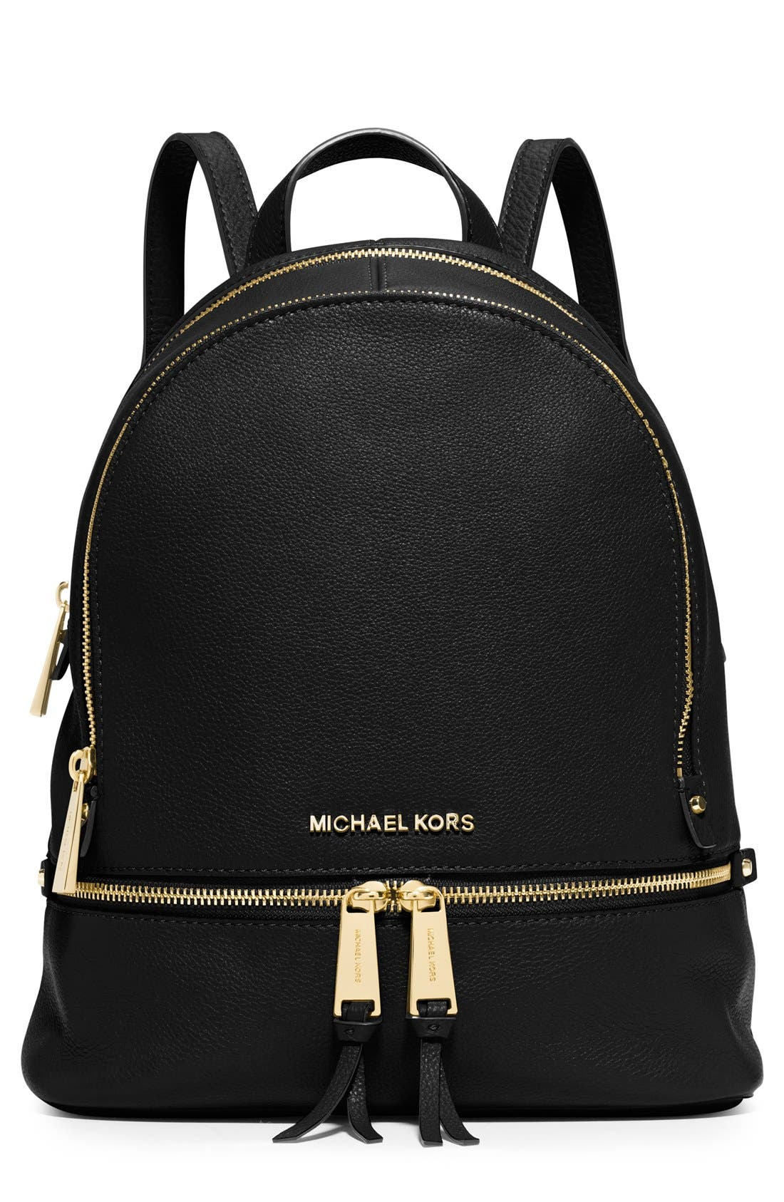 'Extra Small Rhea Zip' Leather Backpack,                             Main thumbnail 1, color,                             Black