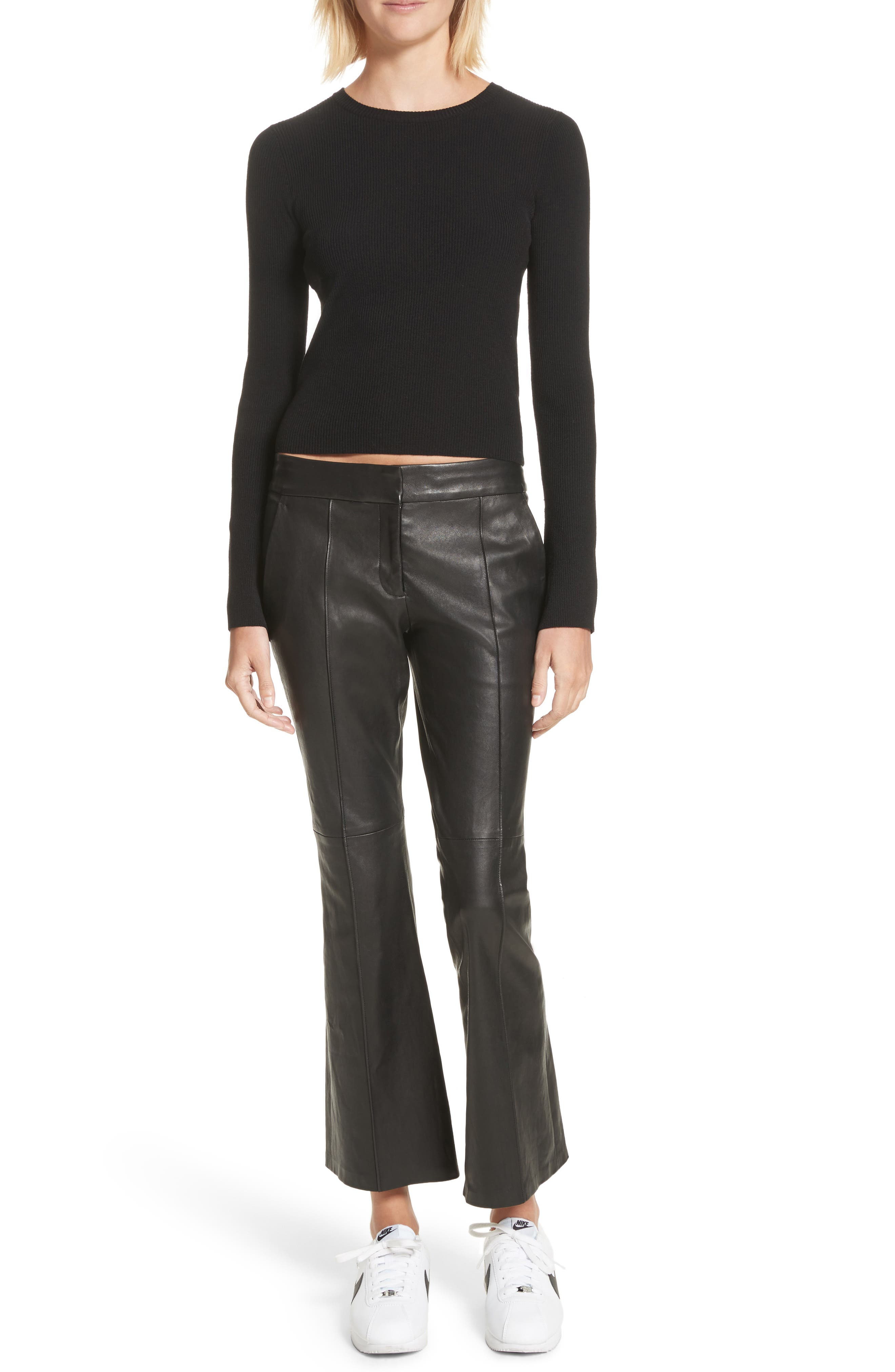 Alternate Image 2  - A.L.C. Evan Lambskin Leather Flare Crop Pants