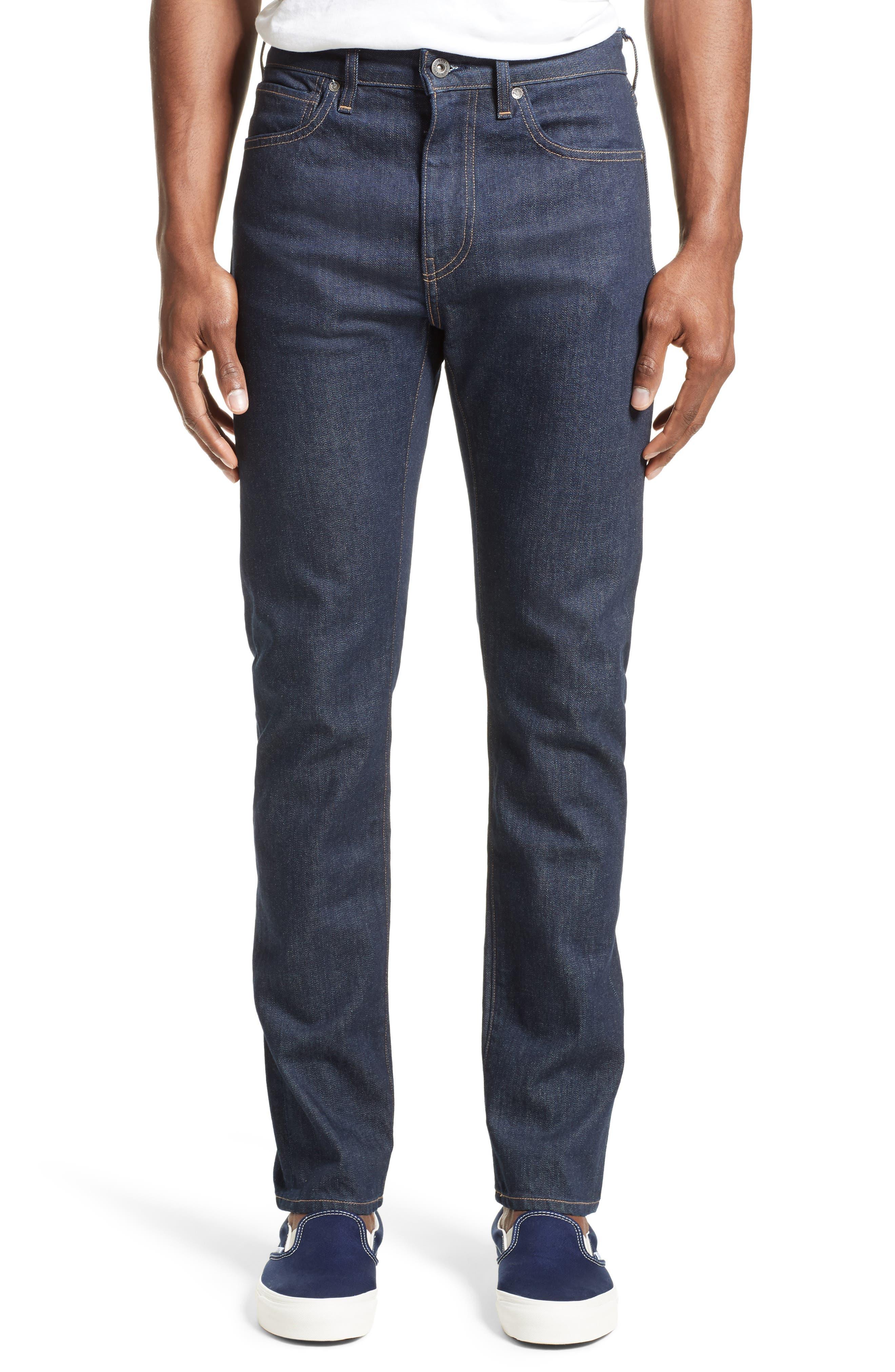 Tack Slim Fit Jeans,                             Main thumbnail 1, color,                             Dark Blue