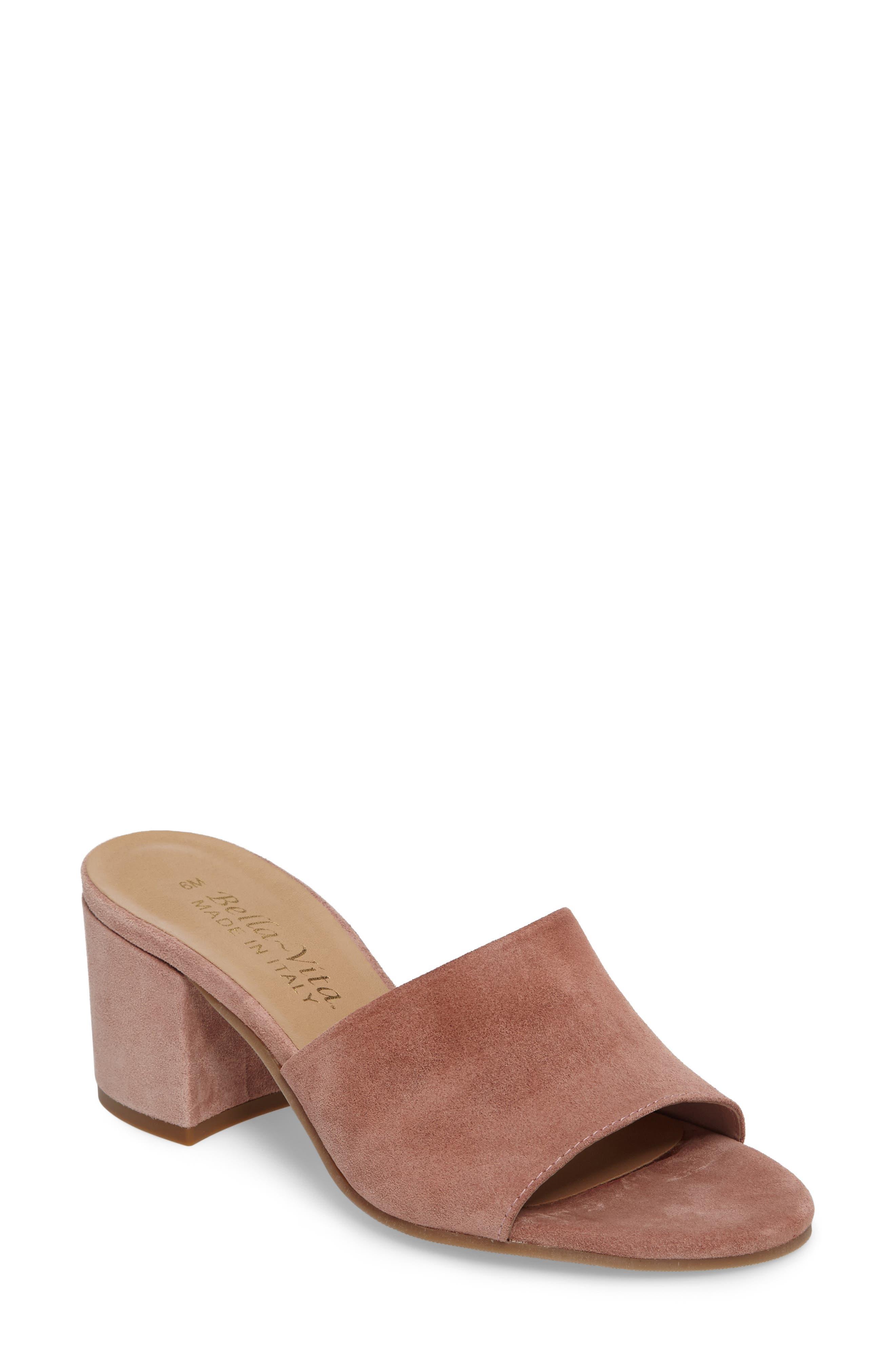 Mel Slide Sandal,                         Main,                         color, Blush Suede