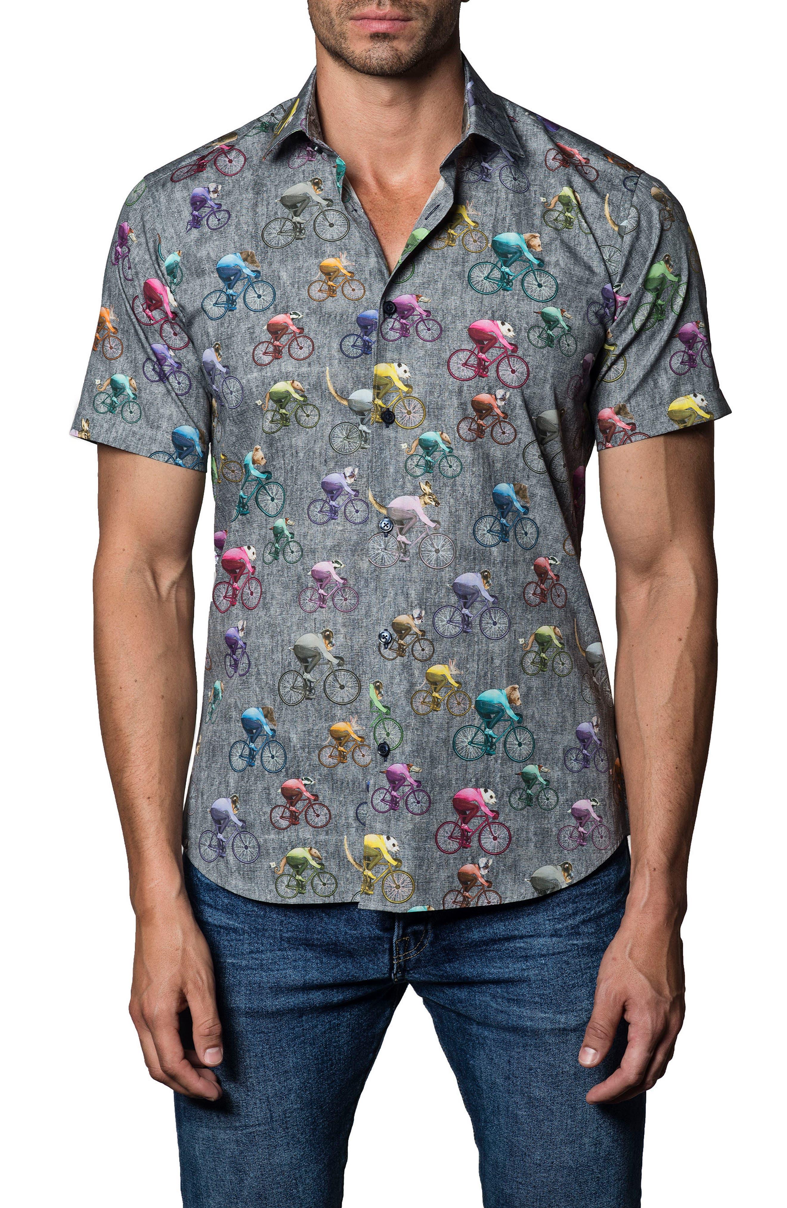 Bike Print Sport Shirt,                         Main,                         color, Grey