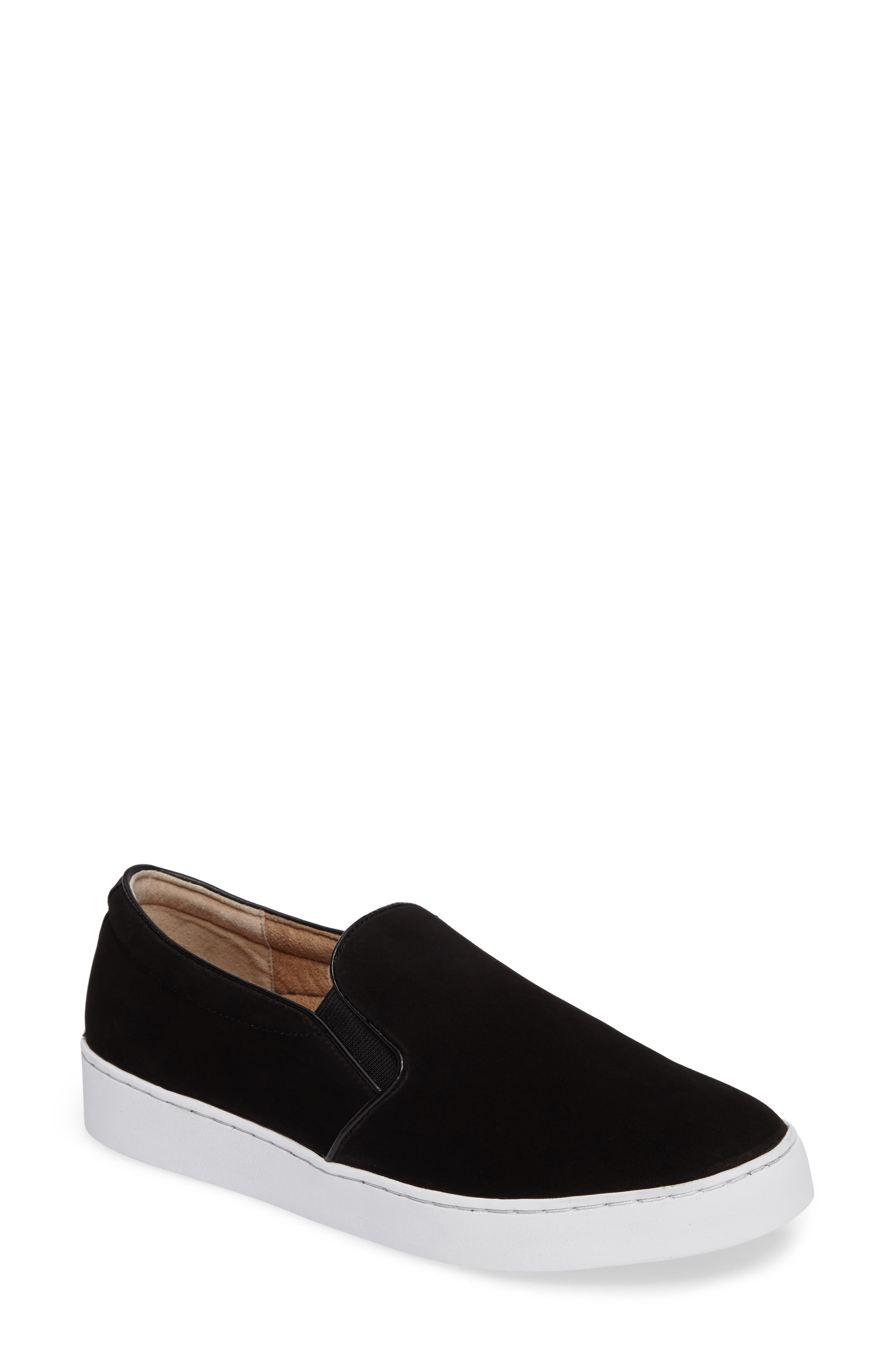 Double Gore Slip-On,                             Main thumbnail 1, color,                             Black Suede