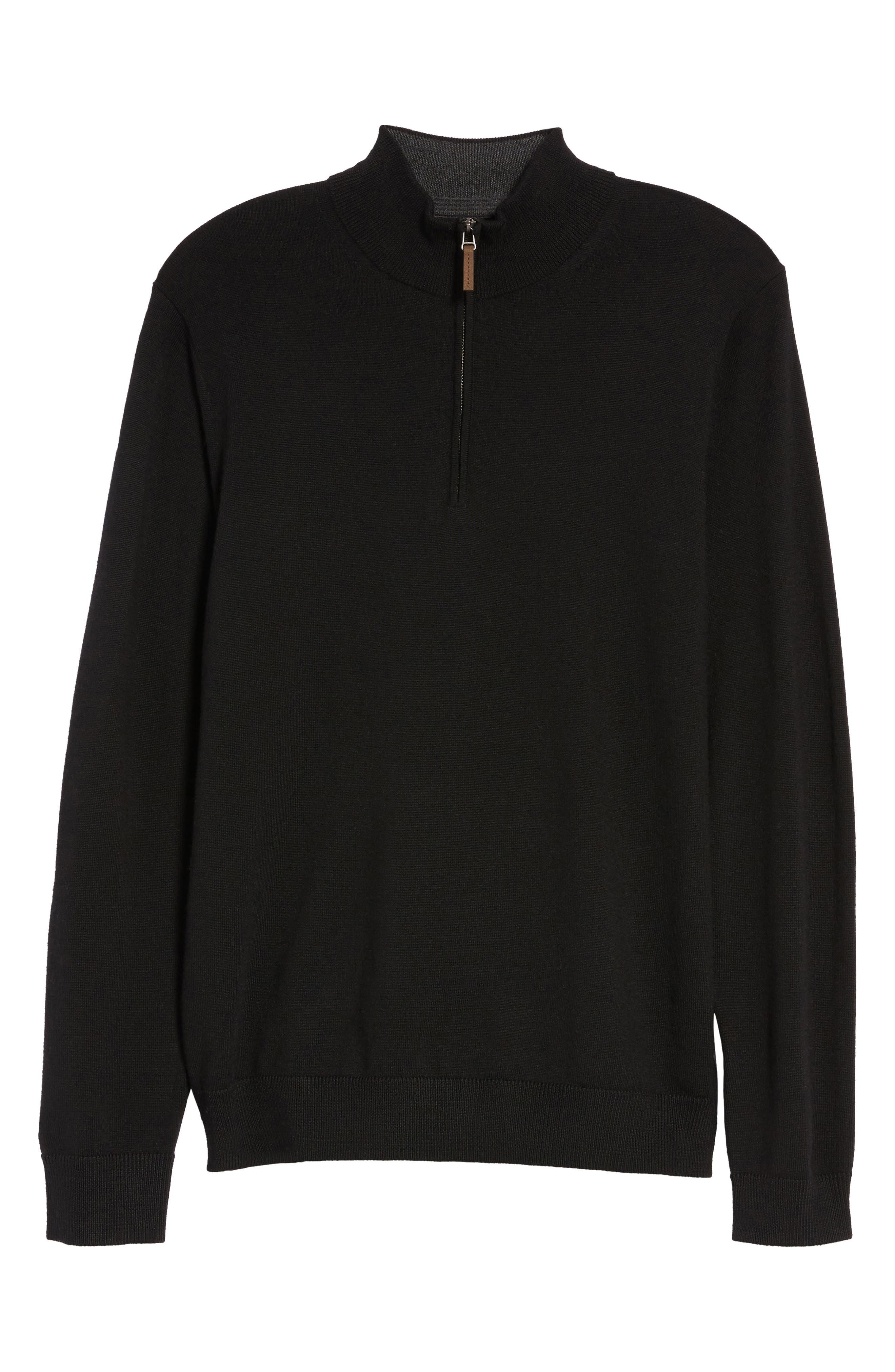 Quarter Zip Wool Pullover,                             Alternate thumbnail 6, color,                             Black Caviar