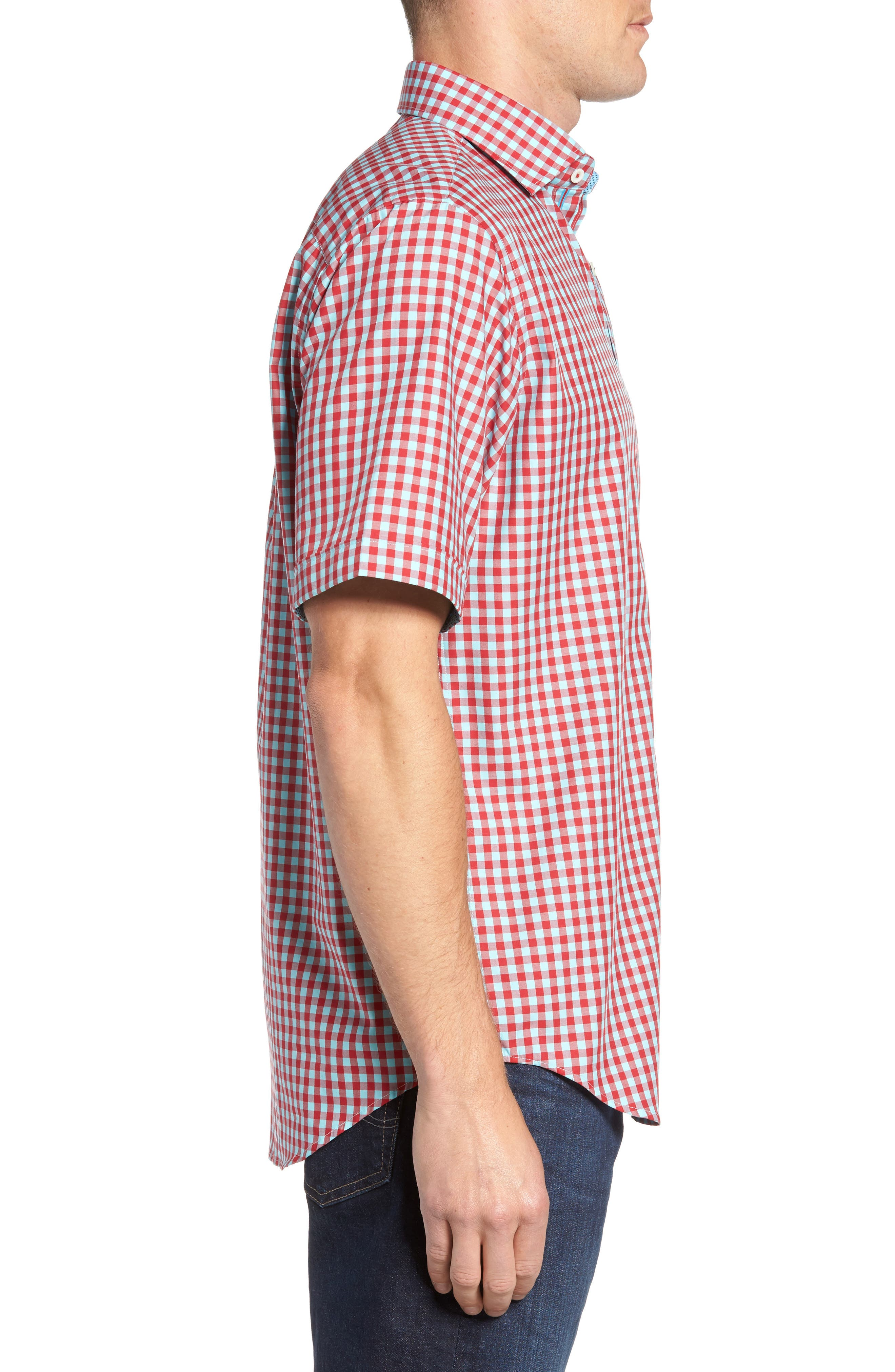 Classic Fit Gingham Short Sleeve Sport Shirt,                             Alternate thumbnail 3, color,                             Ruby