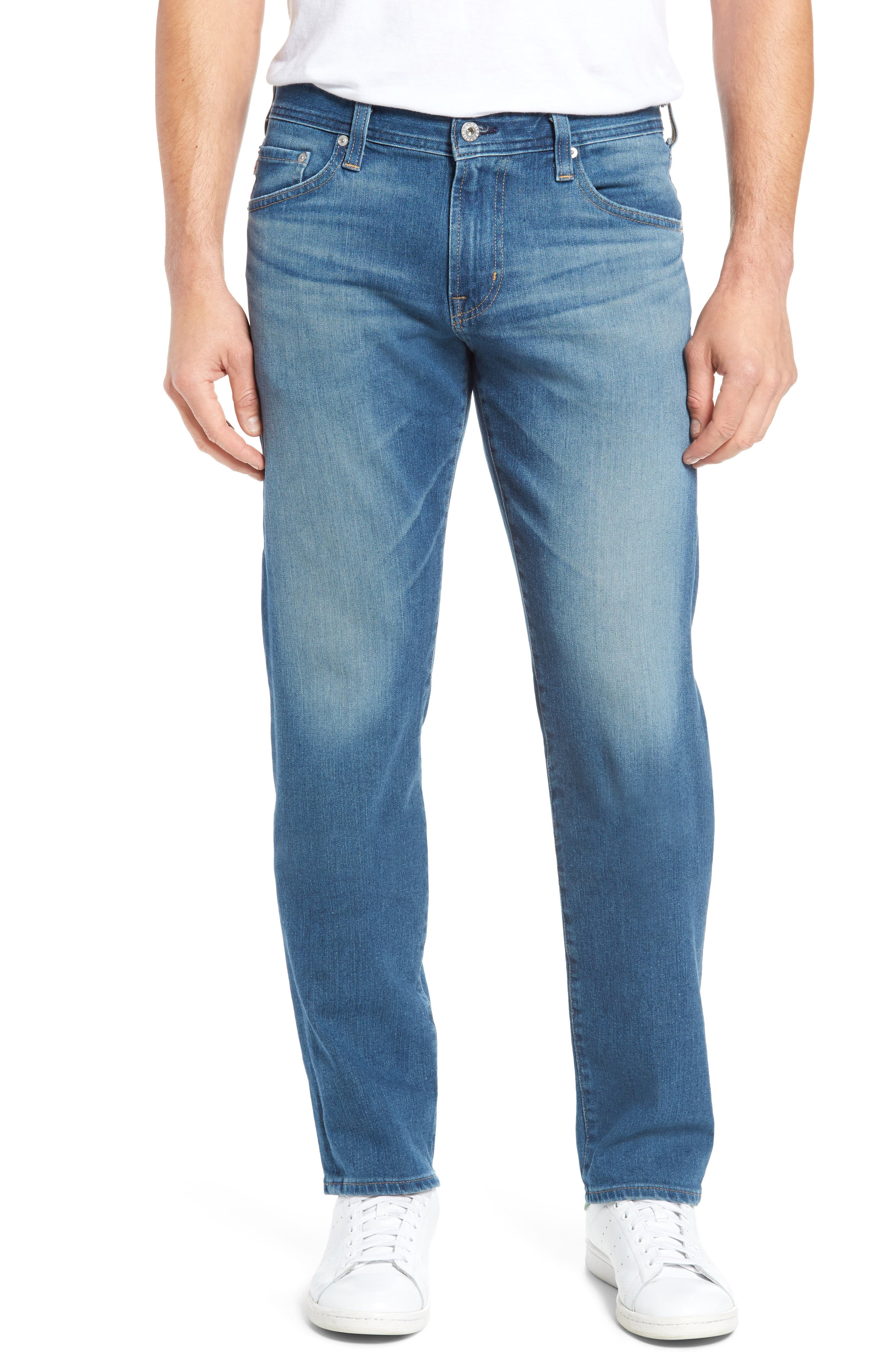 Alternate Image 1 Selected - AG Graduate Slim Straight Fit Jeans (Typewriter)