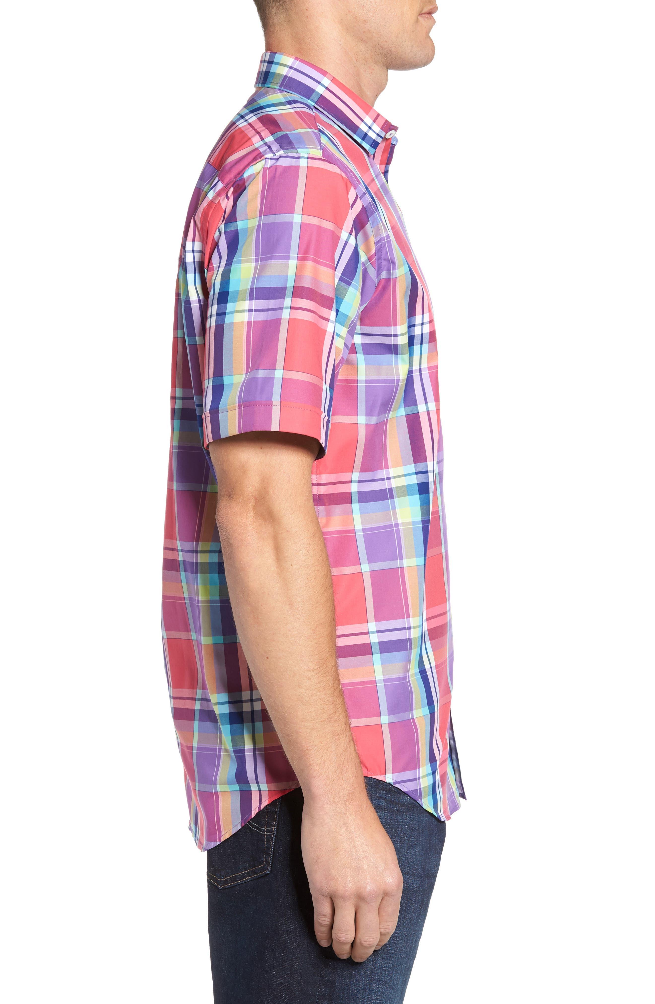 Classic Fit Plaid Sport Shirt,                             Alternate thumbnail 3, color,                             Cherry