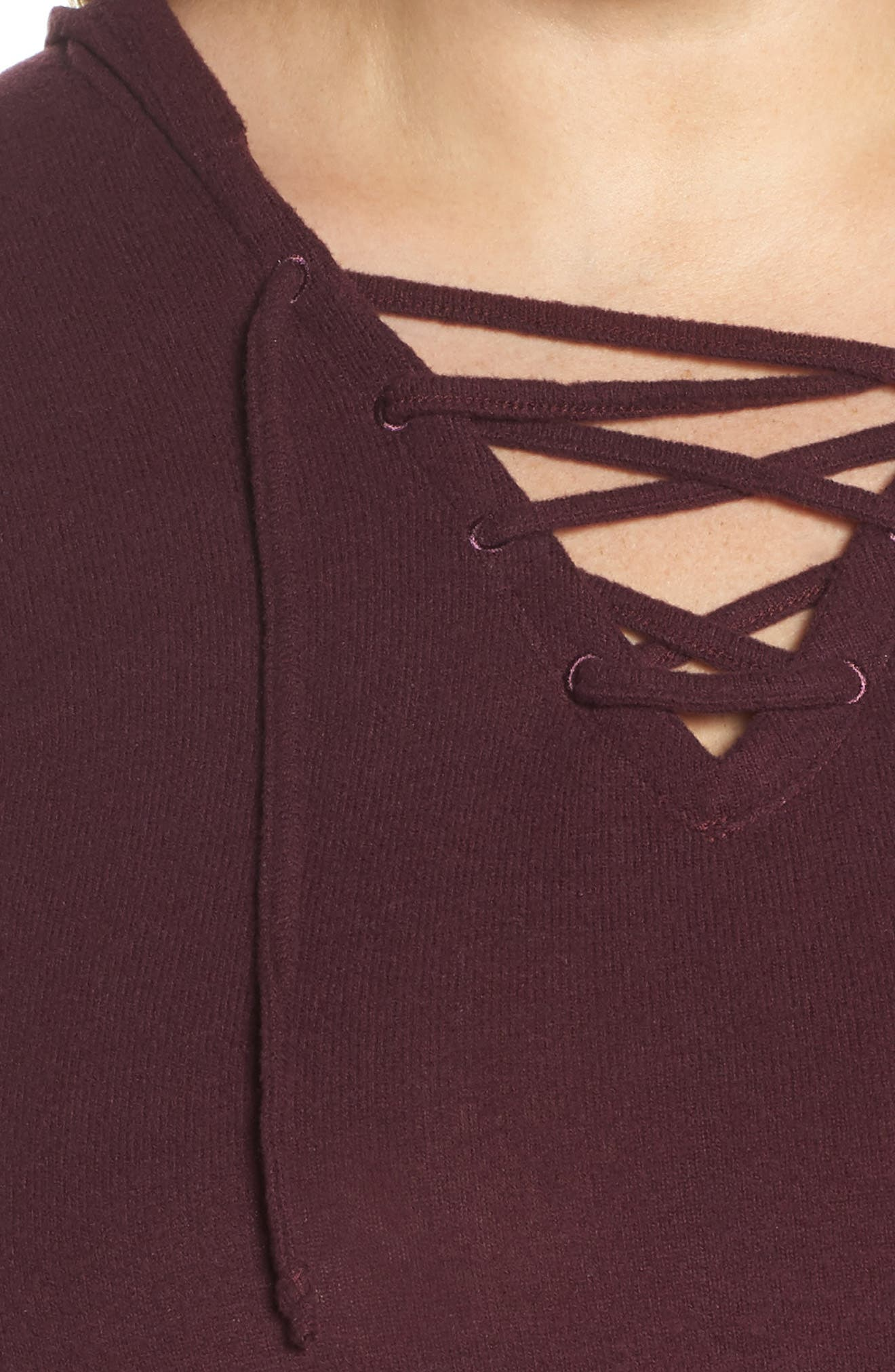 Lace-Up Pullover,                             Alternate thumbnail 4, color,                             Burgundy Stem Marl