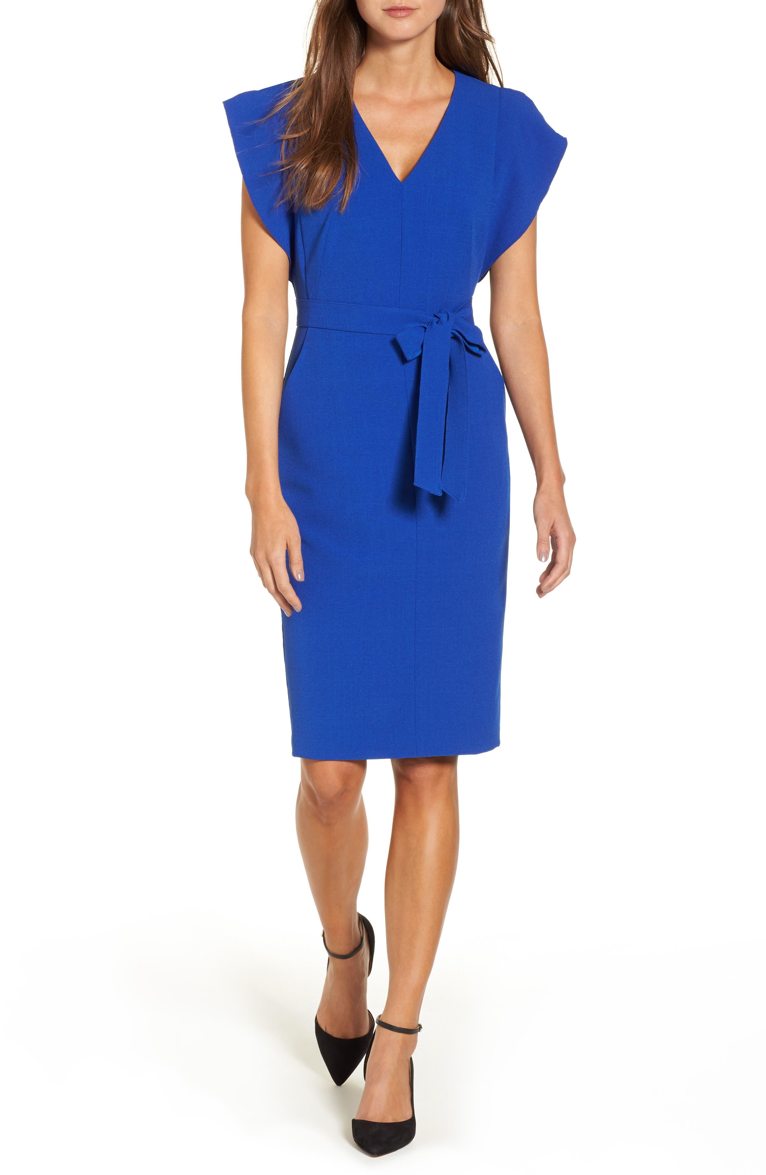 Main Image - Eliza J Ruffle Sleeve Sheath Dress