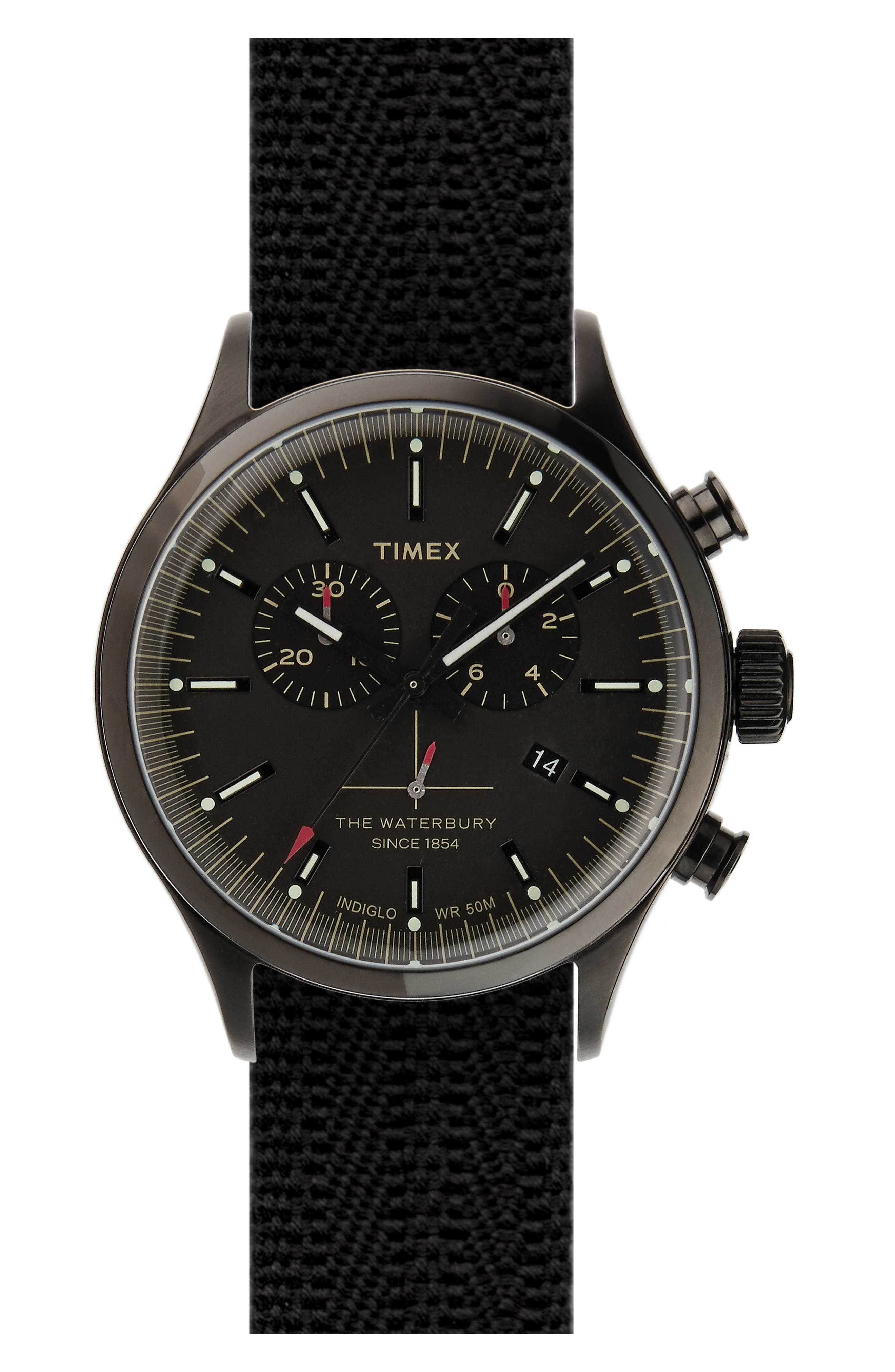 Timex<sup>®</sup> Waterbury Chronograph Fabric Strap Watch, 42mm,                         Main,                         color, Black/ Black