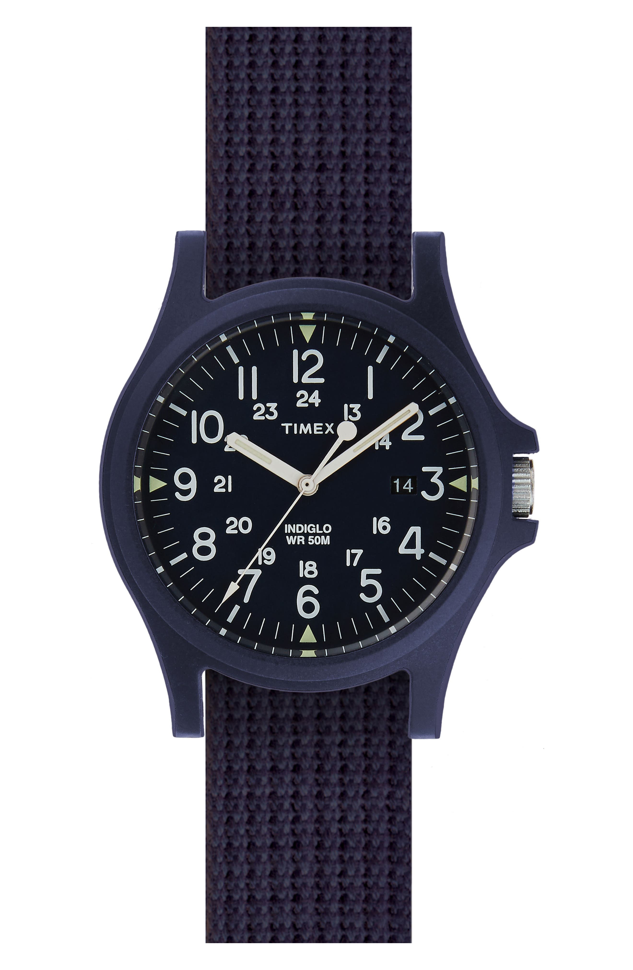 Acadia NATO Strap Watch, 40mm,                         Main,                         color, Blue/ Blue