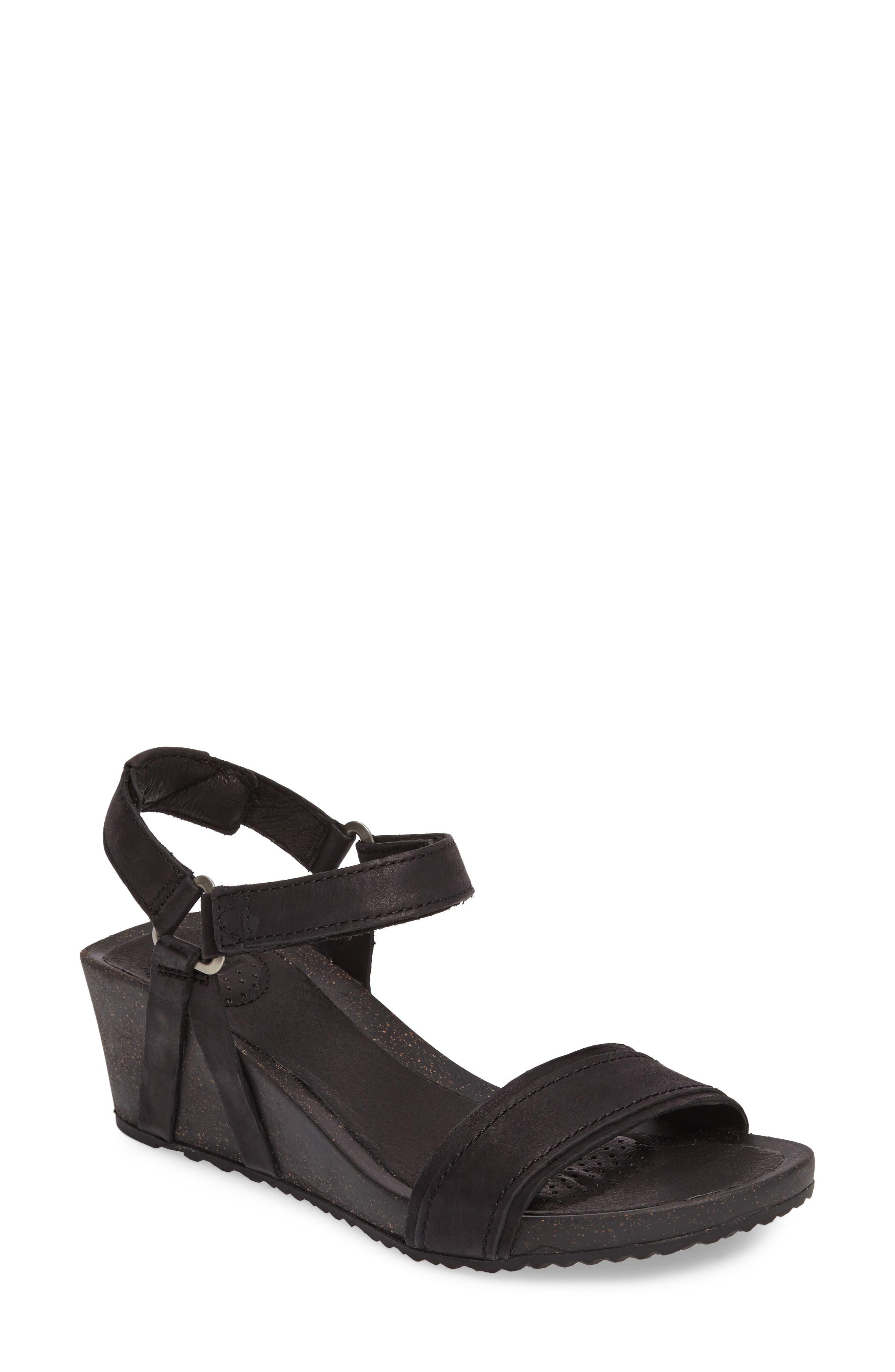 Ysidro Stitch Wedge Sandal,                         Main,                         color, Black Leather