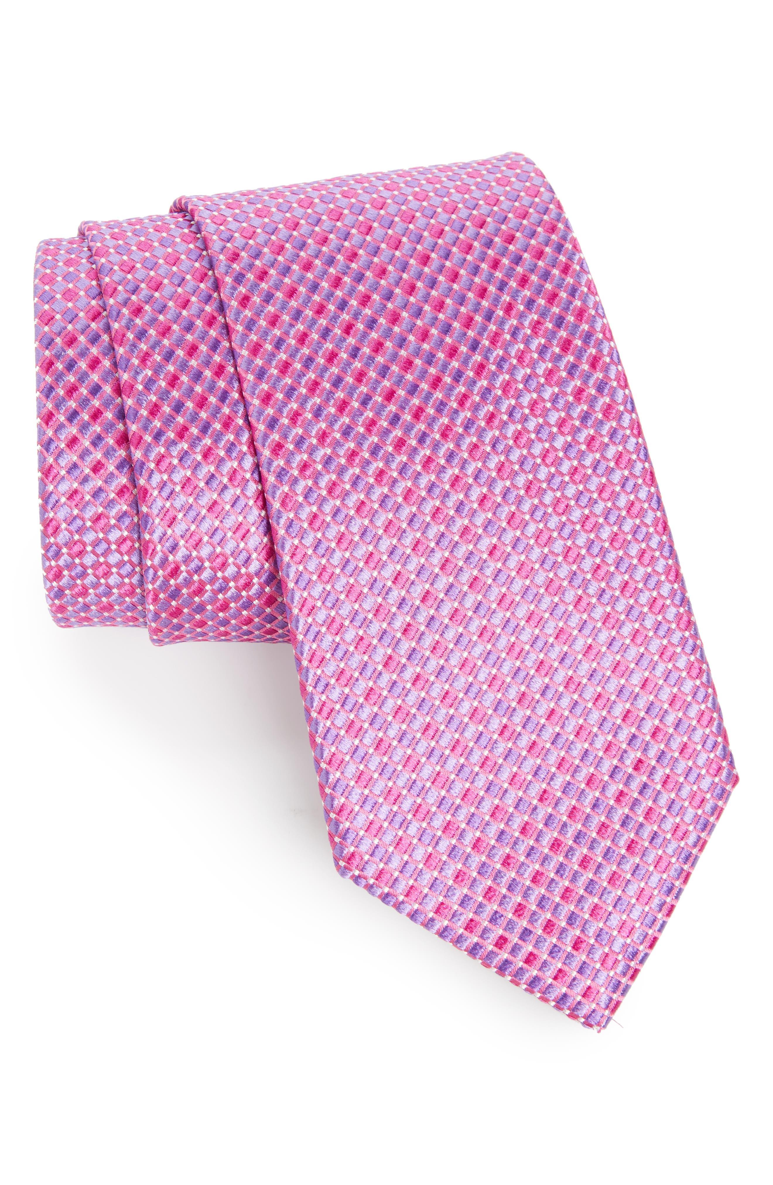 Geo Pattern Silk Tie,                             Main thumbnail 1, color,                             Pink