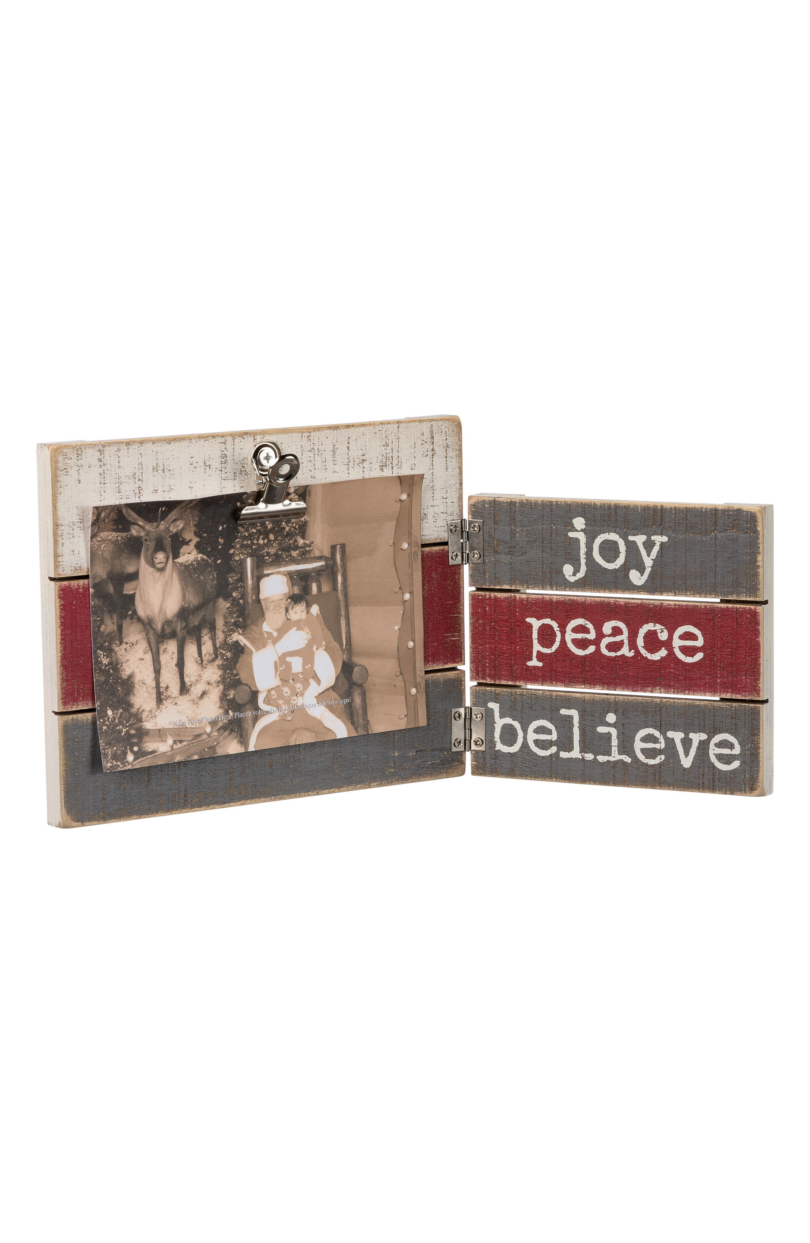 Joy Peace Believe Hinged Picture Frame,                             Main thumbnail 1, color,                             Red