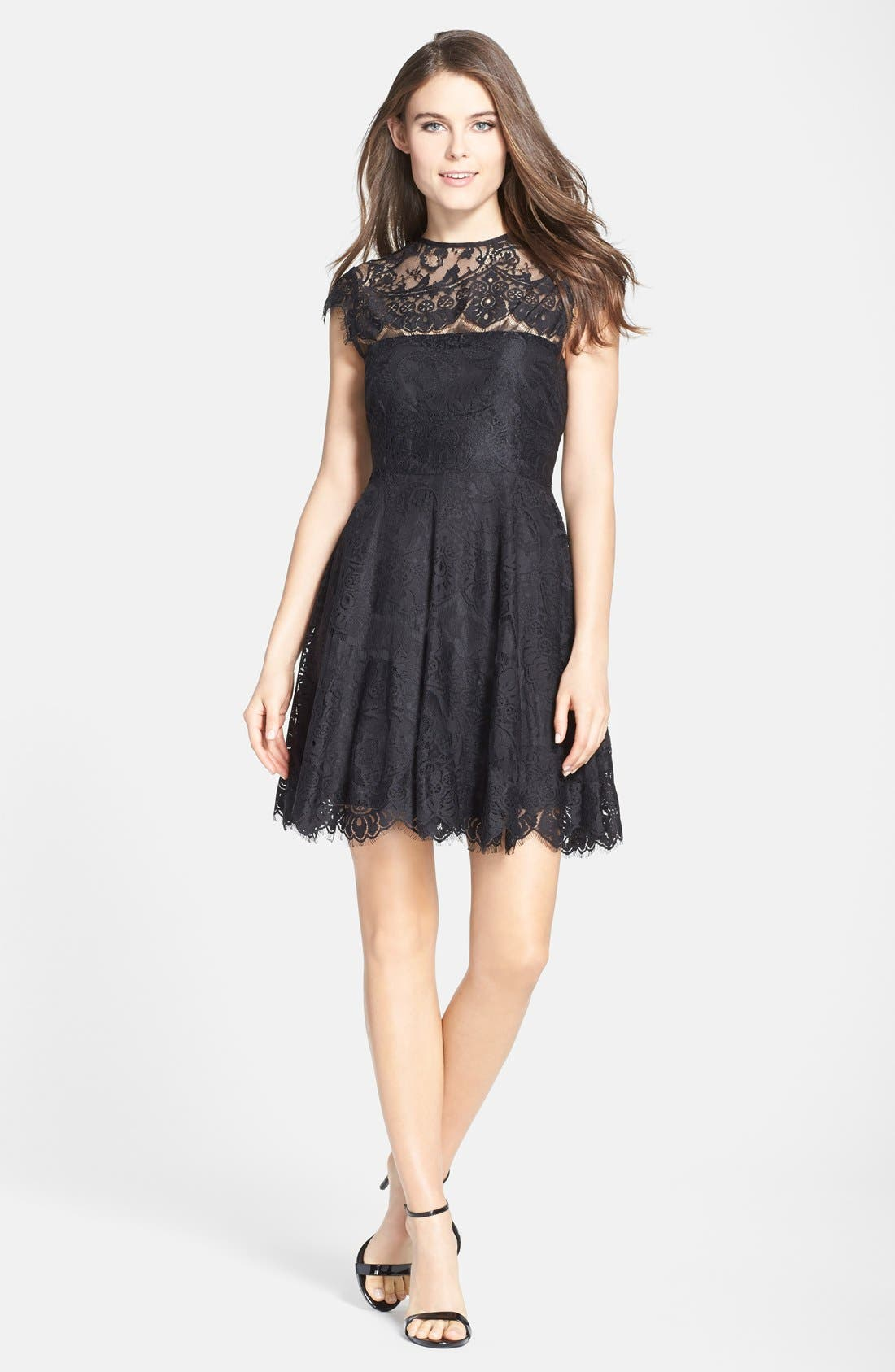 'Rhianna' Illusion Yoke Lace Fit & Flare Dress,                             Alternate thumbnail 3, color,                             Black