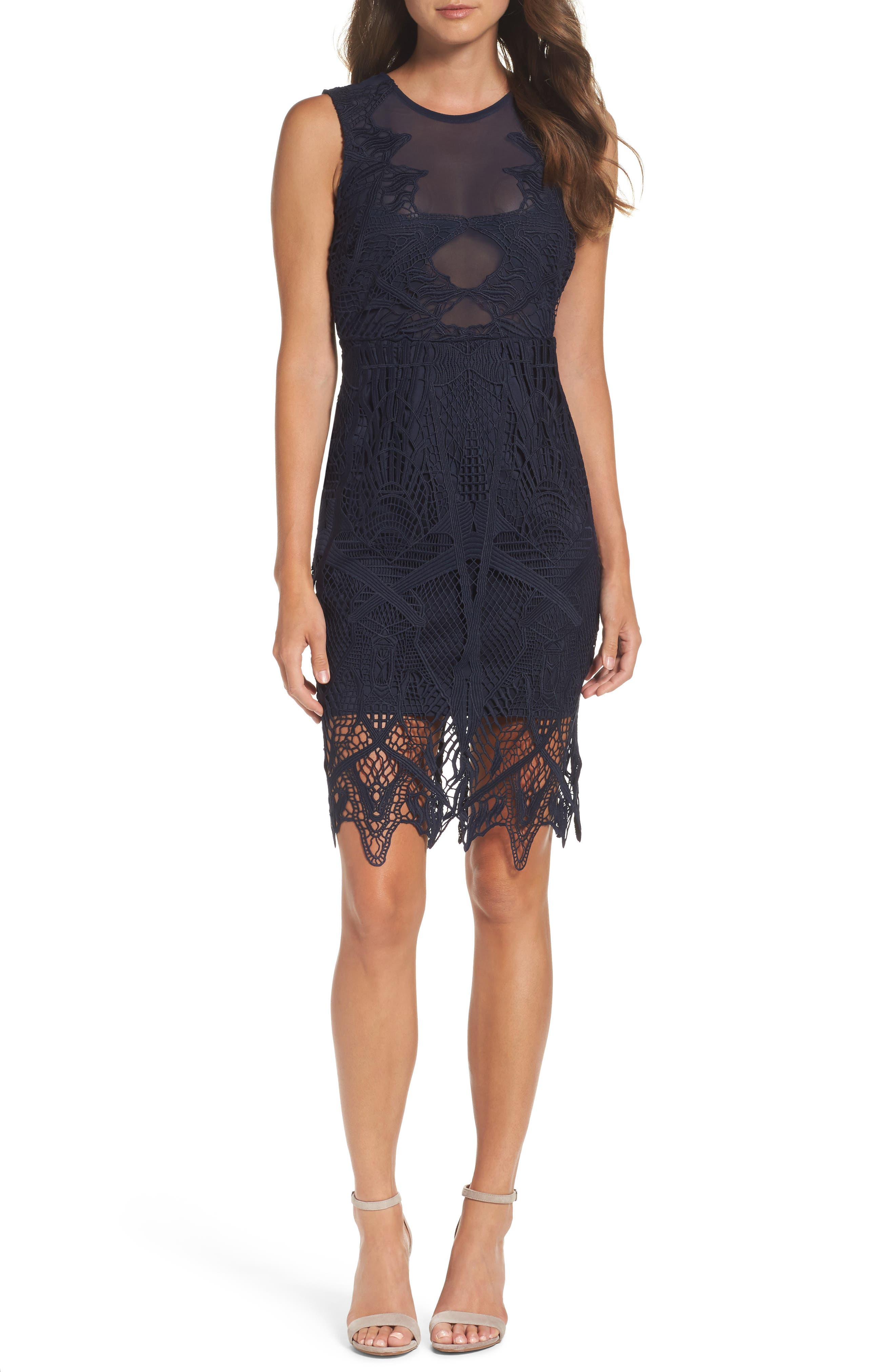 Illusion Lace Sheath Dress,                         Main,                         color, French Navy