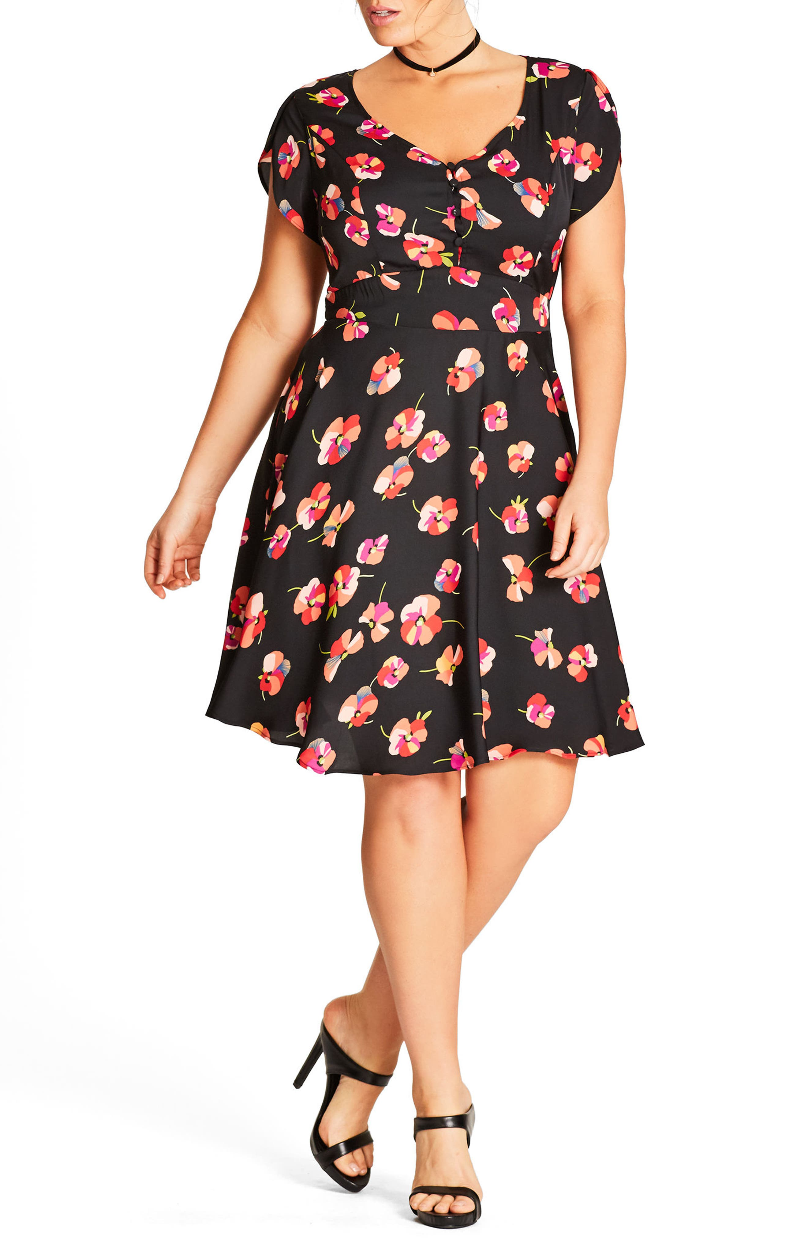 City Chic Pretty Pansy Fit & Flare Dress (Plus Size)