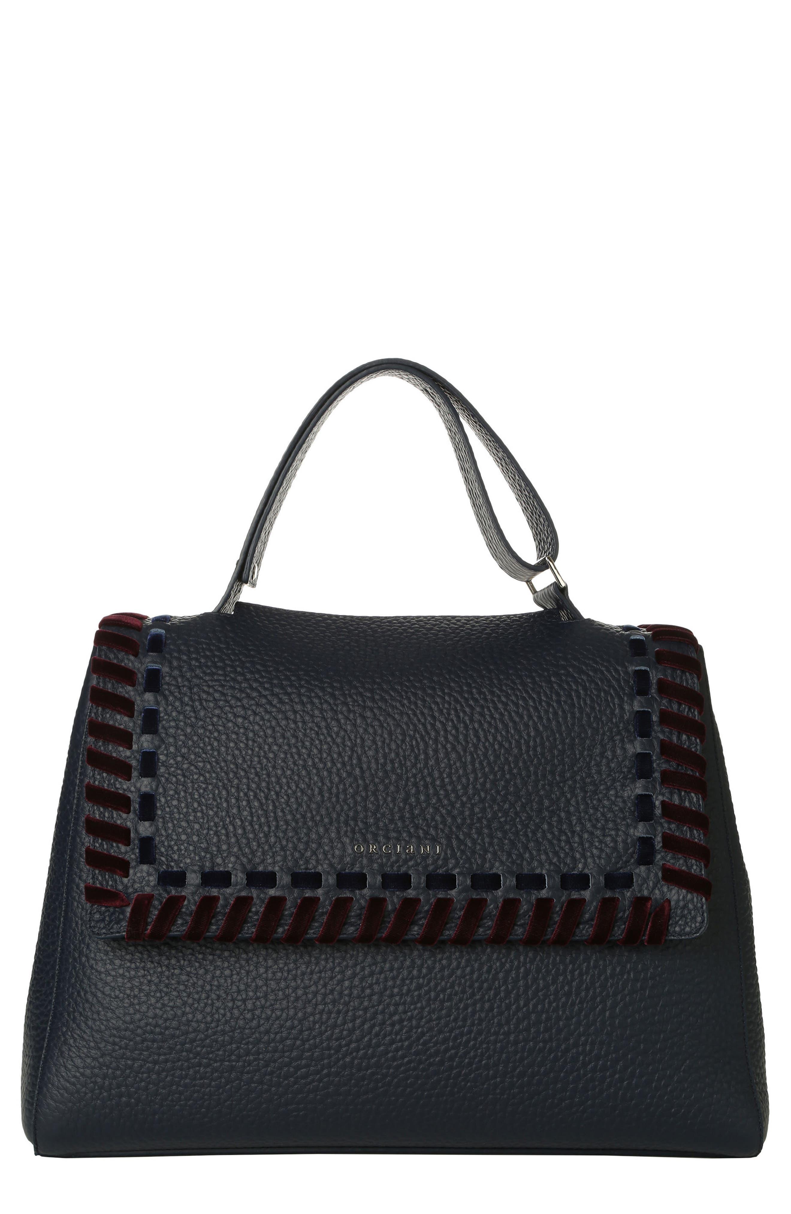 Orciani Large Sveva Velvet Trim Calfskin Leather Satchel