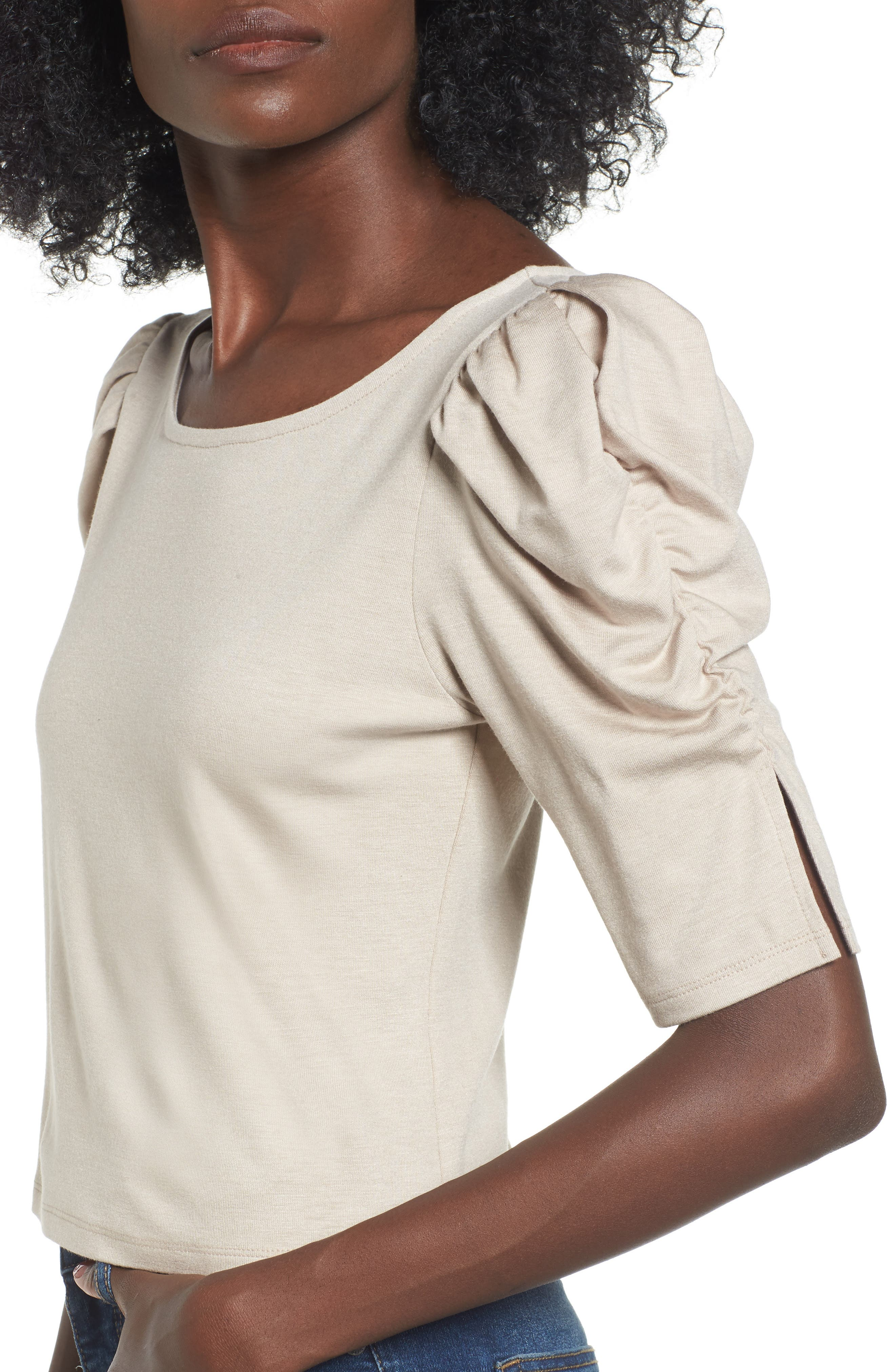 Puff Sleeve Top,                             Alternate thumbnail 4, color,                             Beige Oatmeal