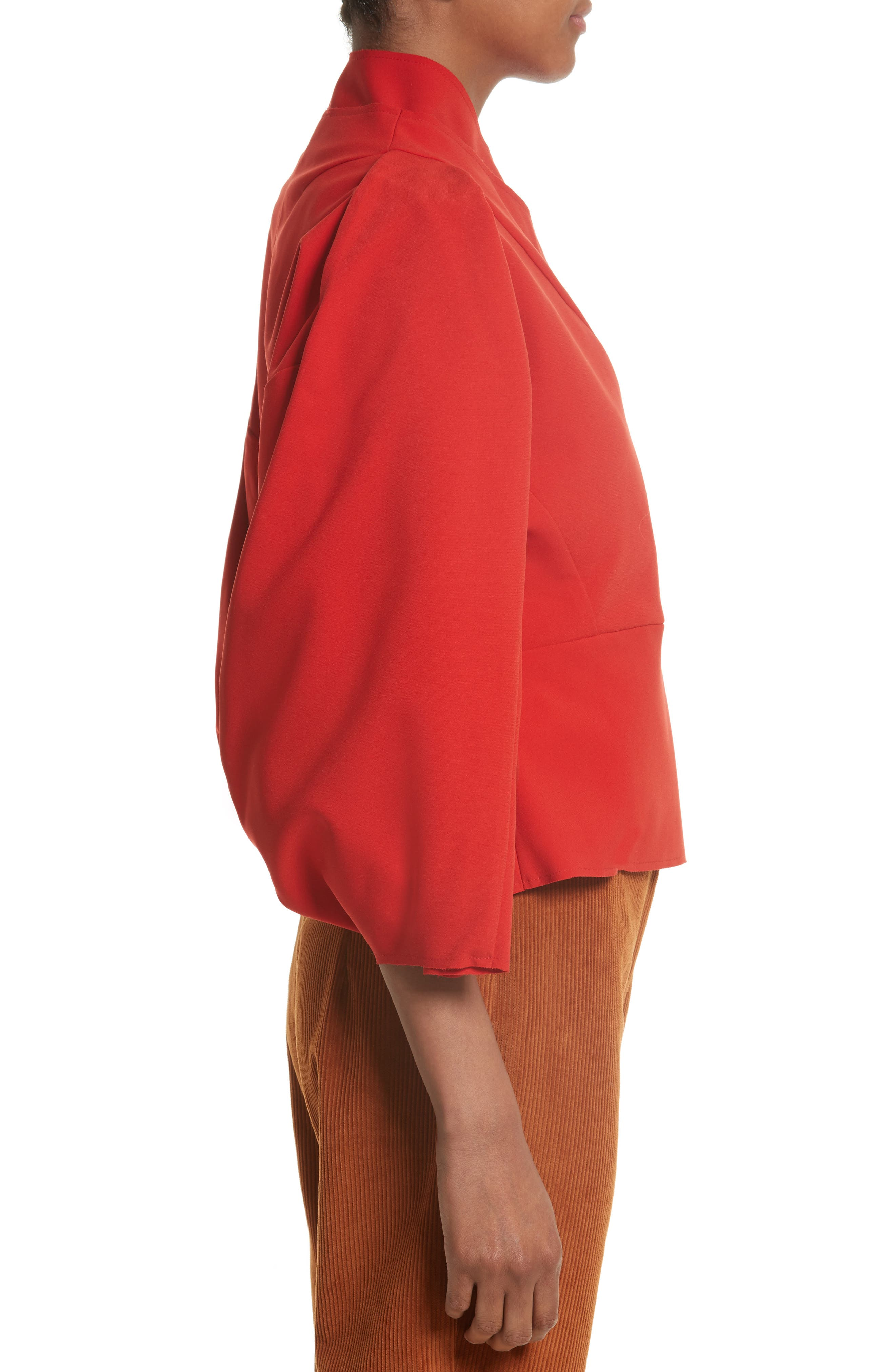 Twisted Sleeve Top,                             Alternate thumbnail 3, color,                             Red
