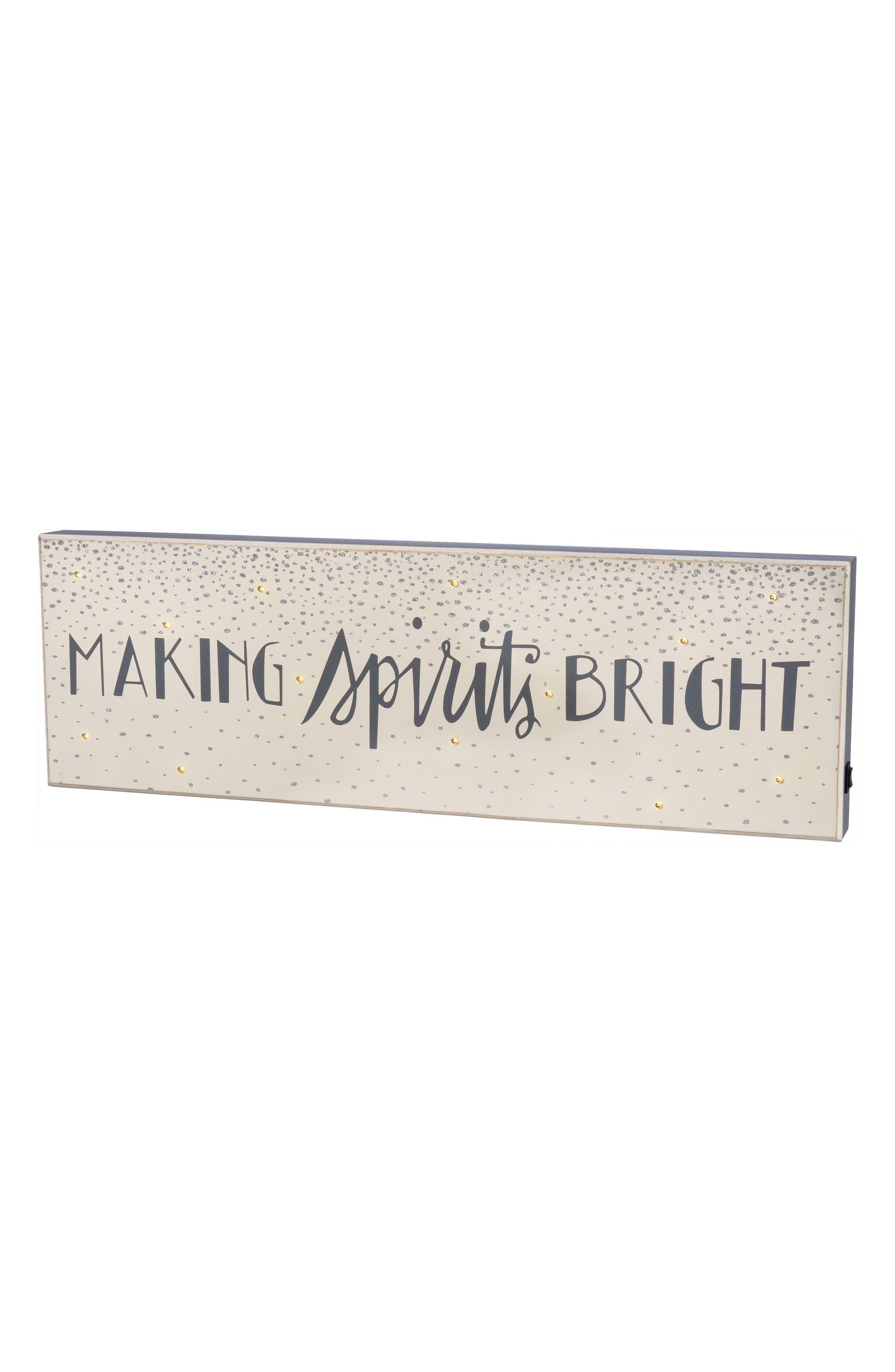 Making Spirits Bright LED Box Sign,                         Main,                         color, Grey