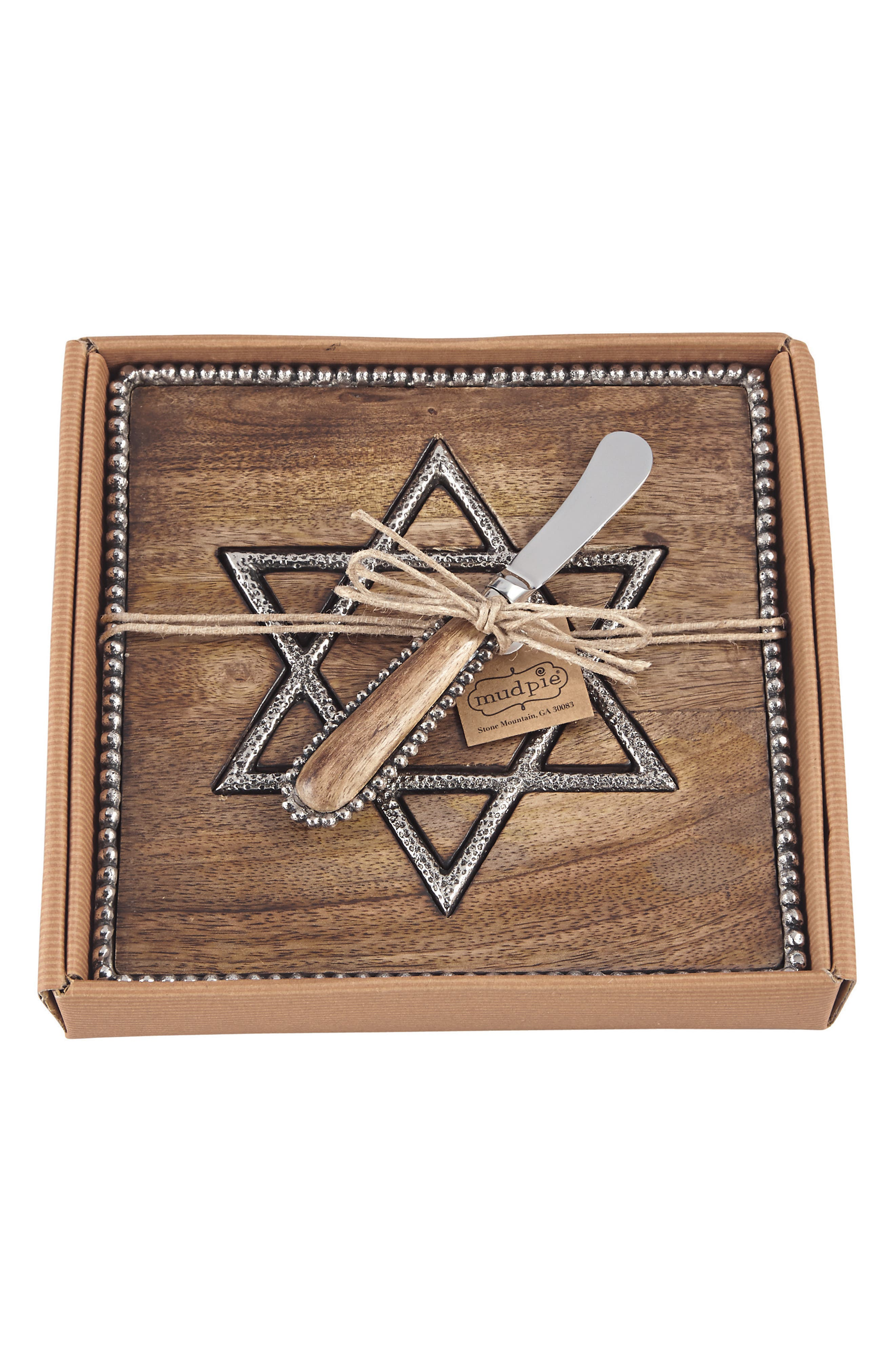 Alternate Image 1 Selected - Mud Pie Star of David Wood Cutting Board & Spreader