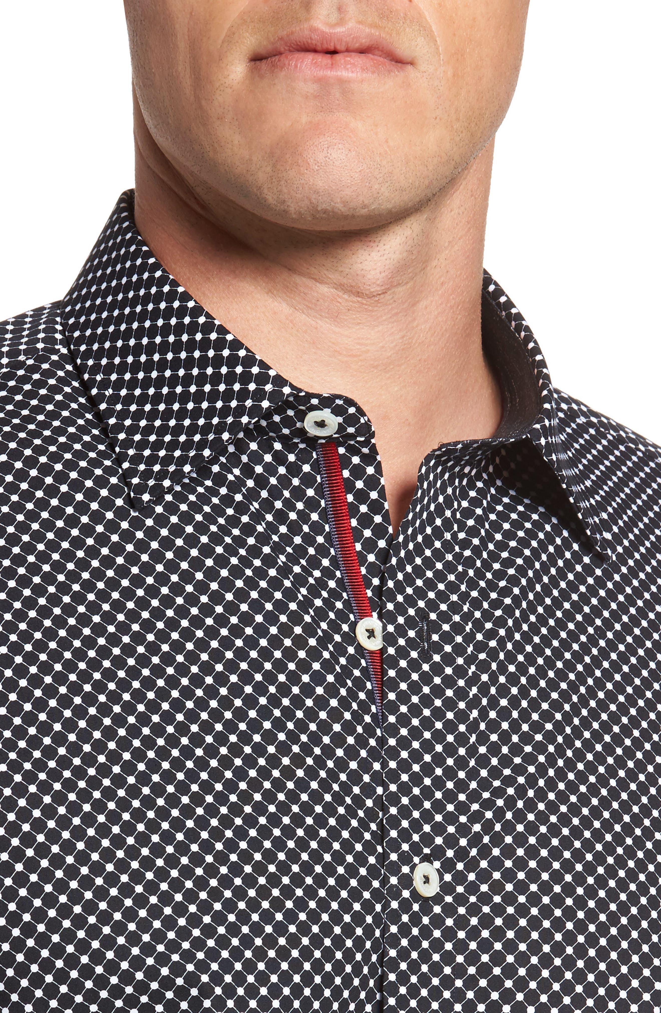 Shaped Fit Spot Grid Sport Shirt,                             Alternate thumbnail 4, color,                             Black
