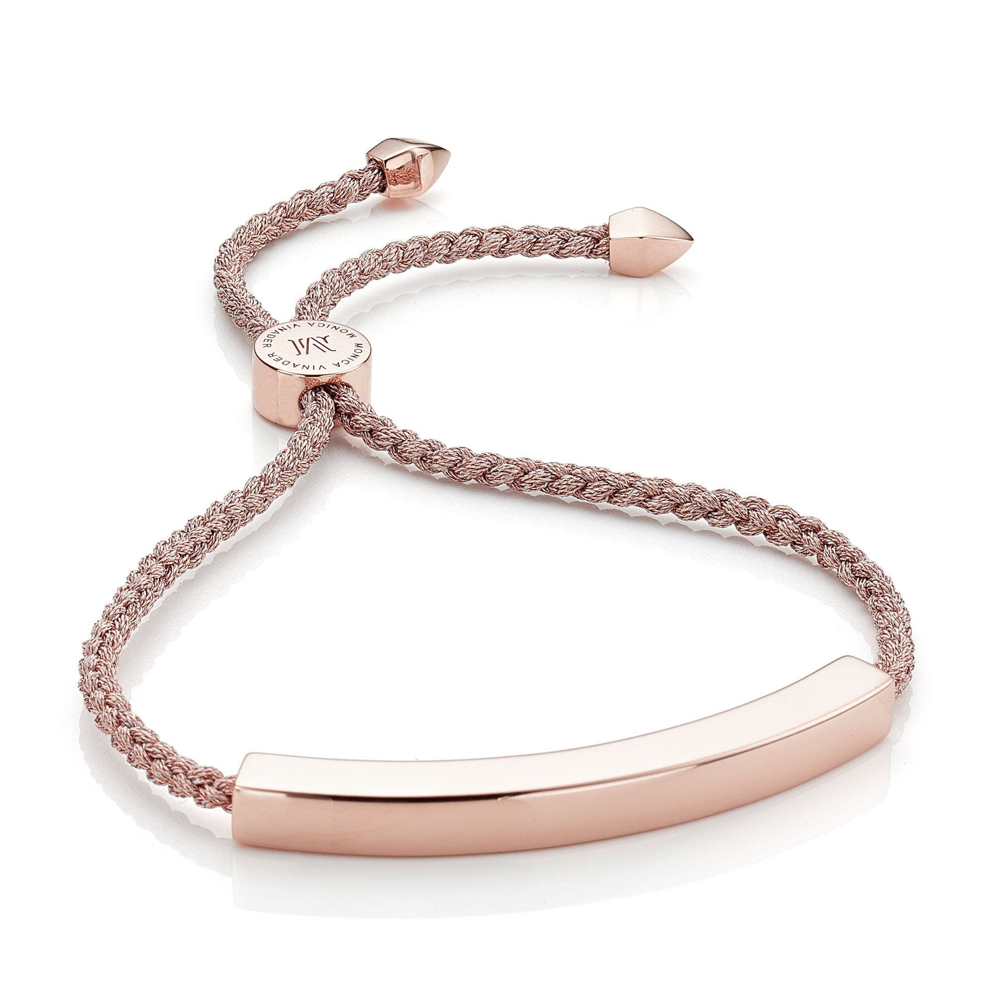 Engravable Large Linear Friendship Bracelet,                         Main,                         color, Metallic/ Rose Gold