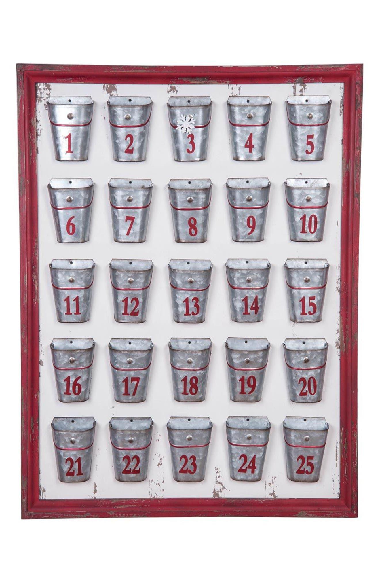 Foreside Galvanized Bucket Advent Calendar